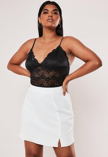 Plus Size White Co Ord Side Split A Line Skirt by Missguided