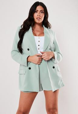 c4f8fb0a ... Plus Size Mint Co Ord Oversized Button Front Blazer