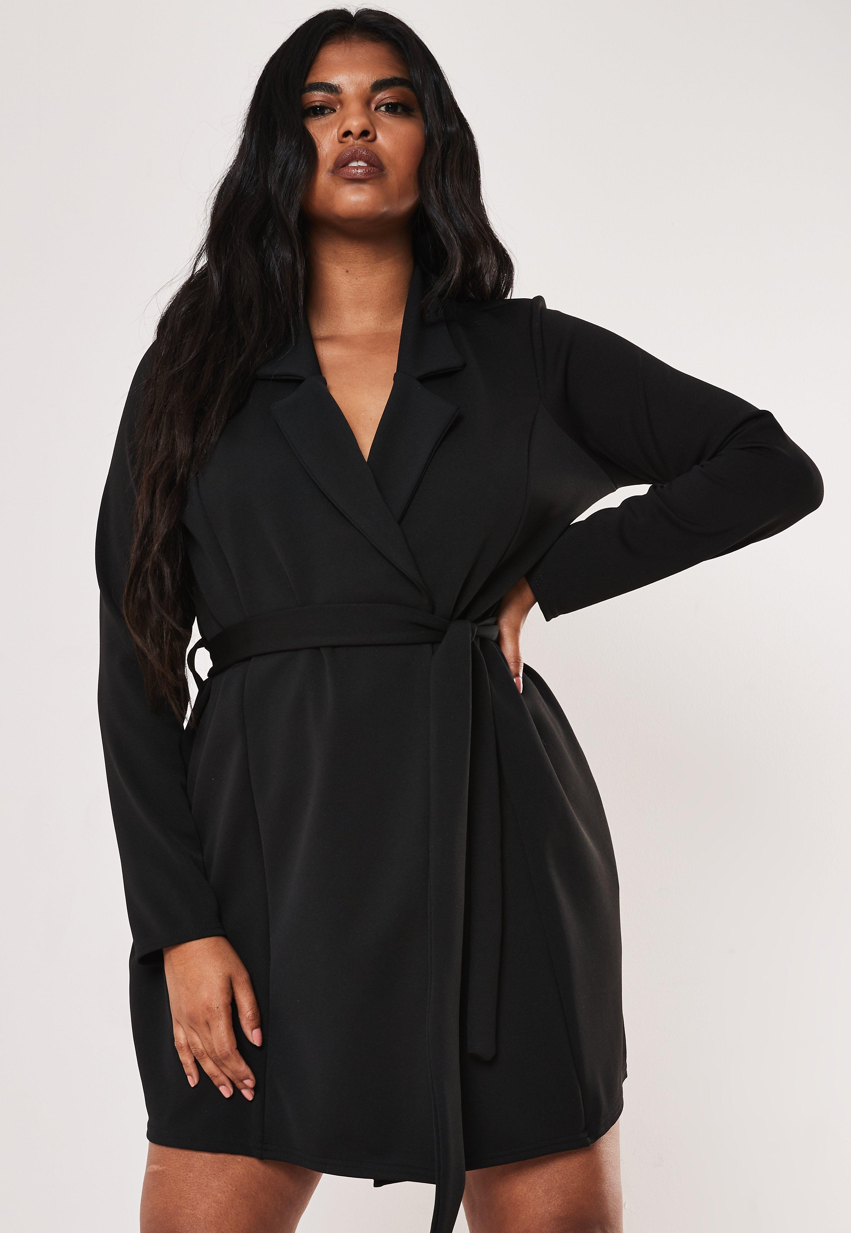 Plus Size Black Belted Blazer Dress