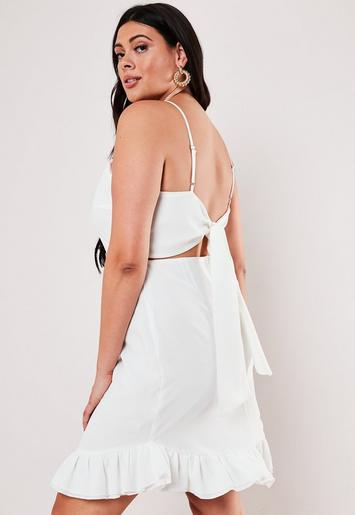 Plus Size White Tie Back Strappy Mini Dress by Missguided