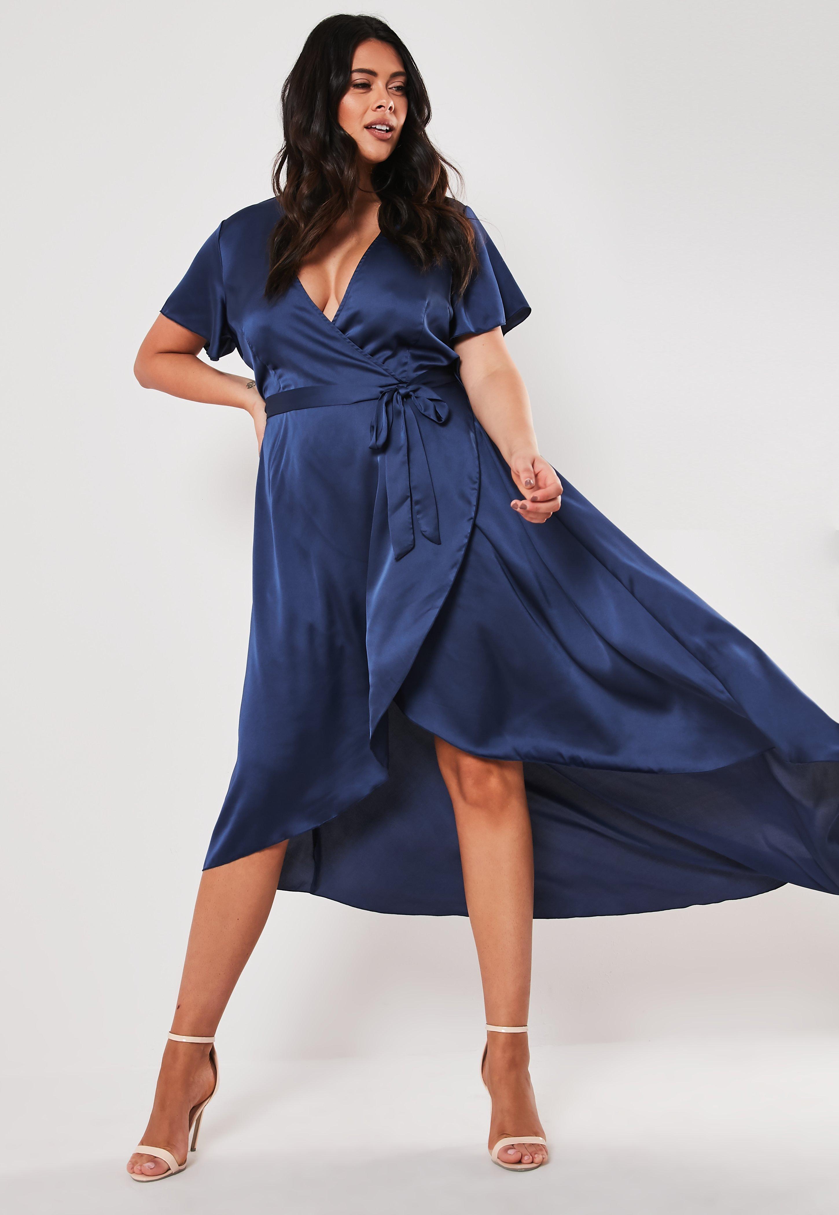 Plus Size Navy Satin Wrap Maxi Dress