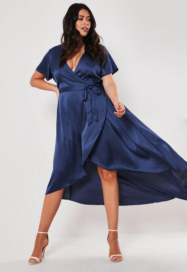 Plus Size Navy Satin Wrap Maxi Dress Missguided