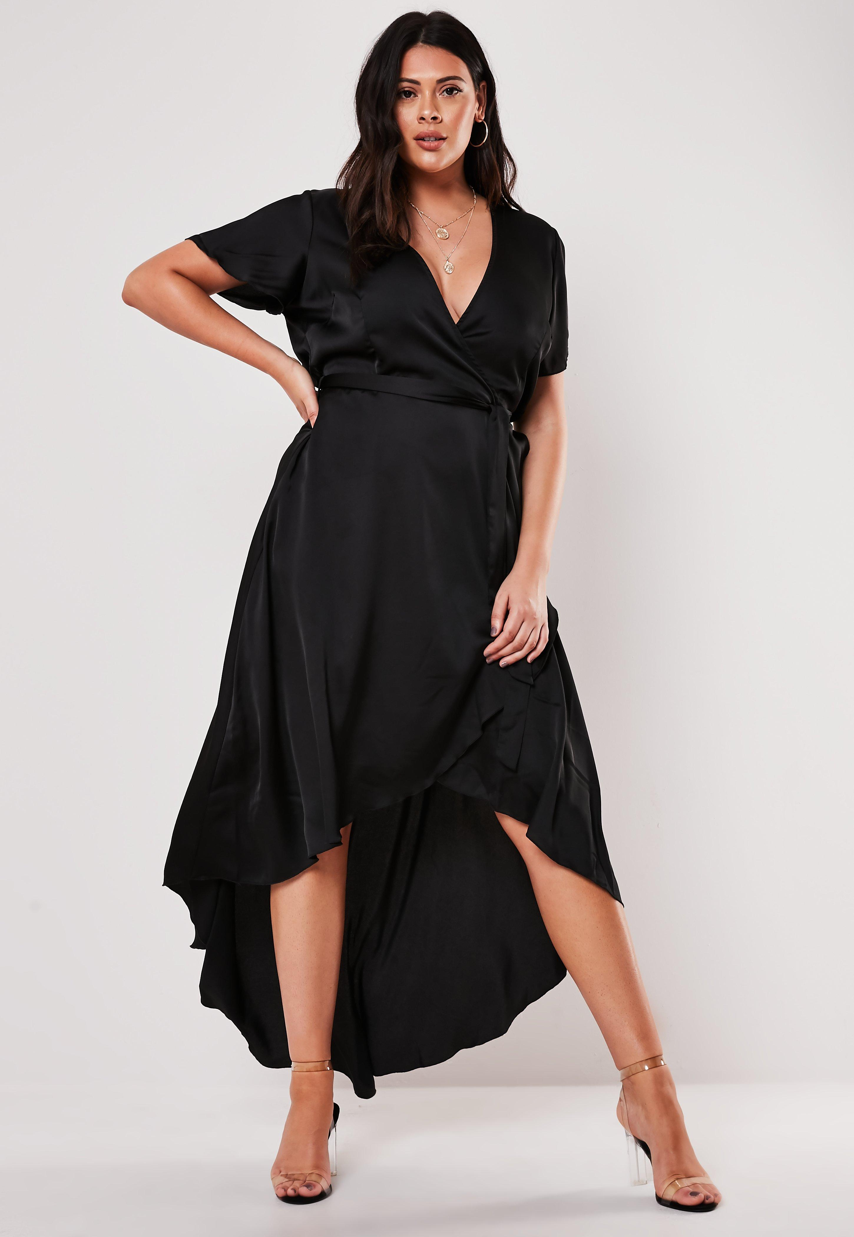 4bfd0920eb9 Plus Size Black Satin Wrap Maxi Dress