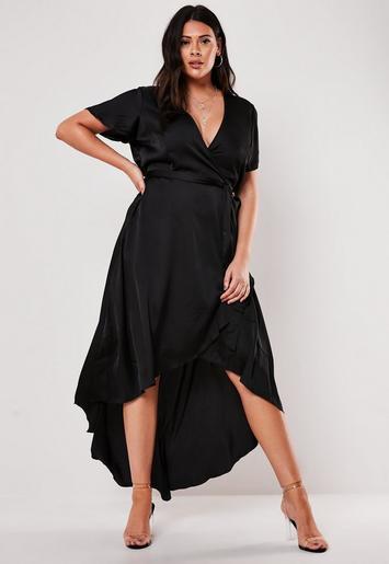 Missguided - Plus Size Black Satin Wrap Maxi Dress