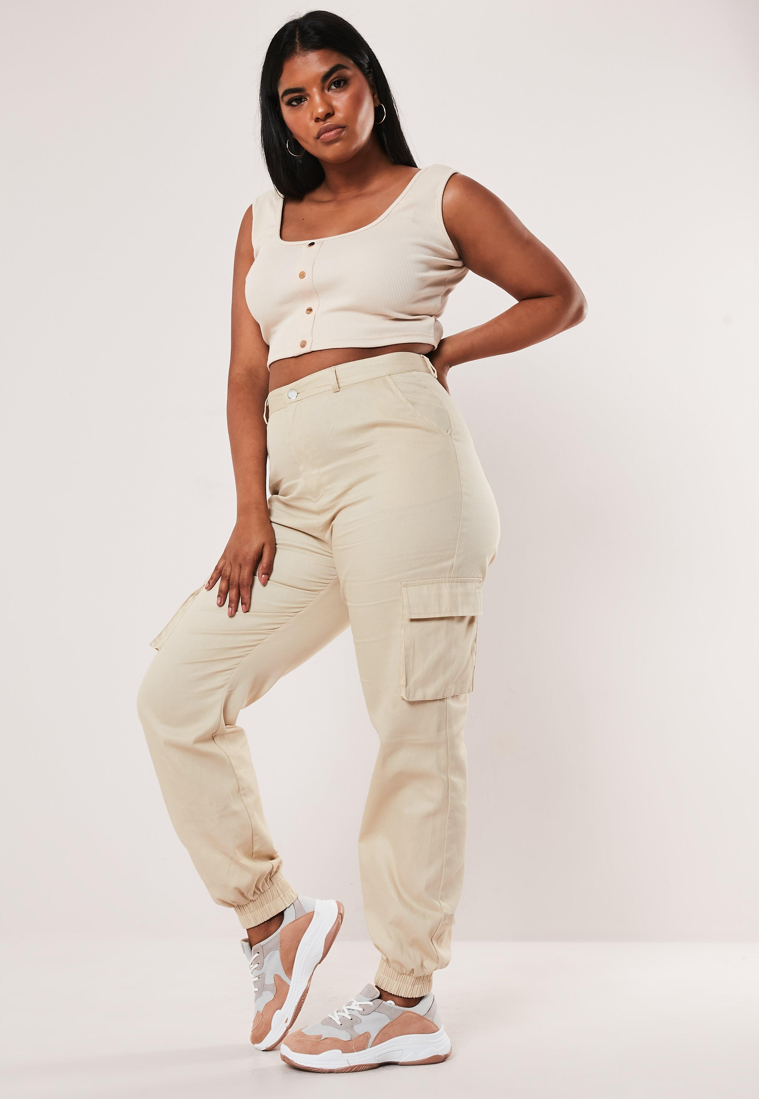 809963ed85aa1 Plus Size Cream Plain Cargo Trousers | Missguided