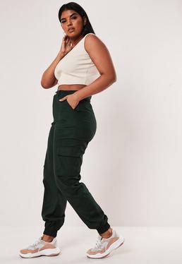 Pantalon cargo vert grandes tailles, Vert