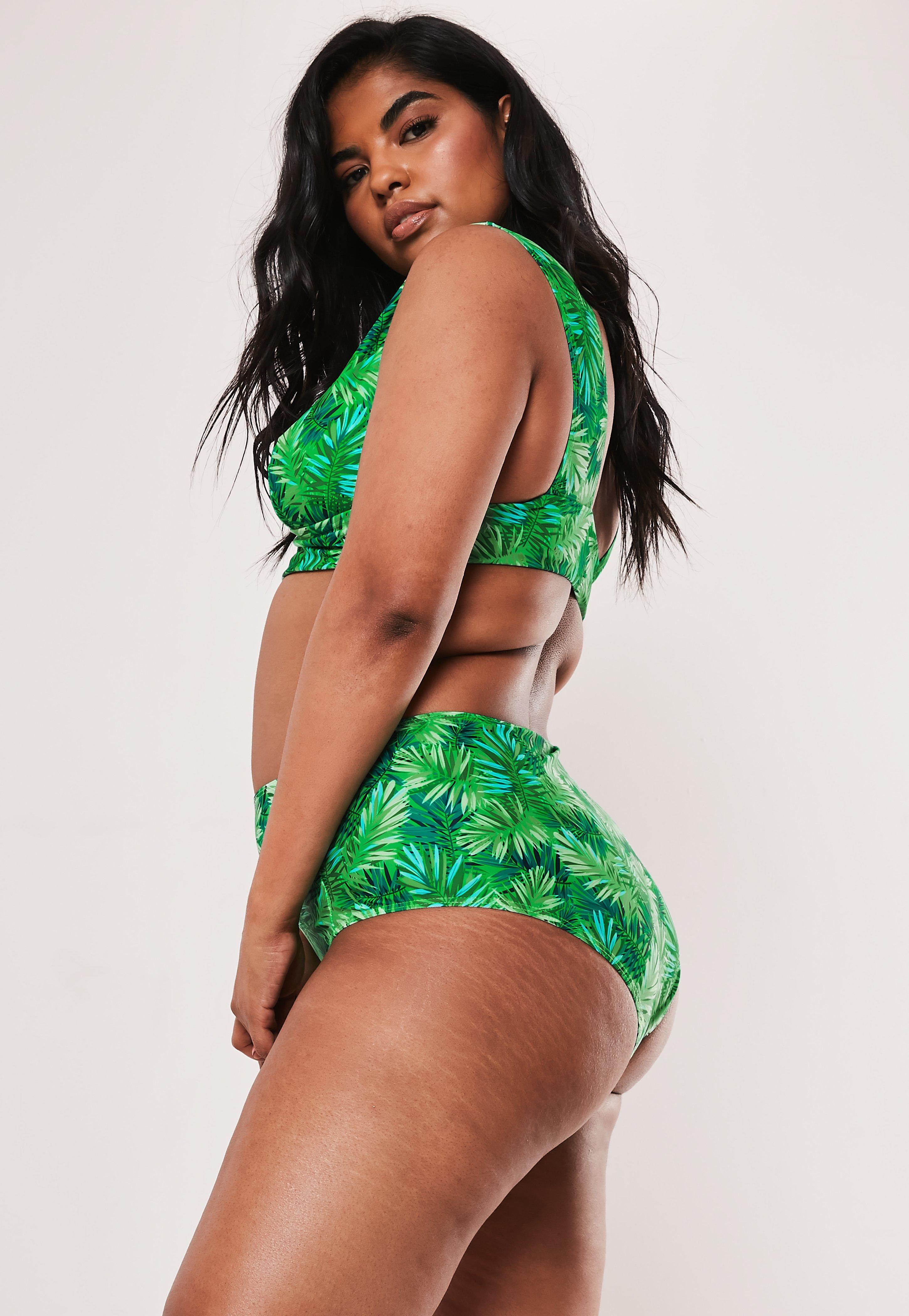 a396f74ba44 Plus Size Green Palm Print High Waisted Bikini Bottoms   Missguided