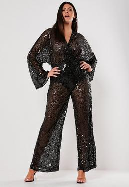 9de4b7f22319 Black Leopard Print Plisse Jumpsuit  Plus Size Black Sequin Plunge Flared  Jumpsuit