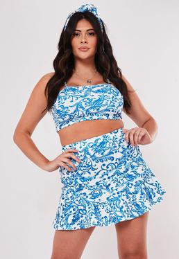 91bea51faca ... Plus Size Blue Porcelain Print Crop Top Ruffle Mini Skirt Co Ord Set