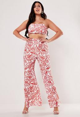 0cbd69e5b7a8 ... Plus Size Red Porcelain Print Bandeau Top And Wide Leg Trousers Co Ord  Set
