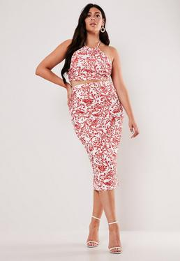 9482b3e188 ... Plus Size Red Porcelain Print Crop Top and Midaxi Skirt Co Ord Set