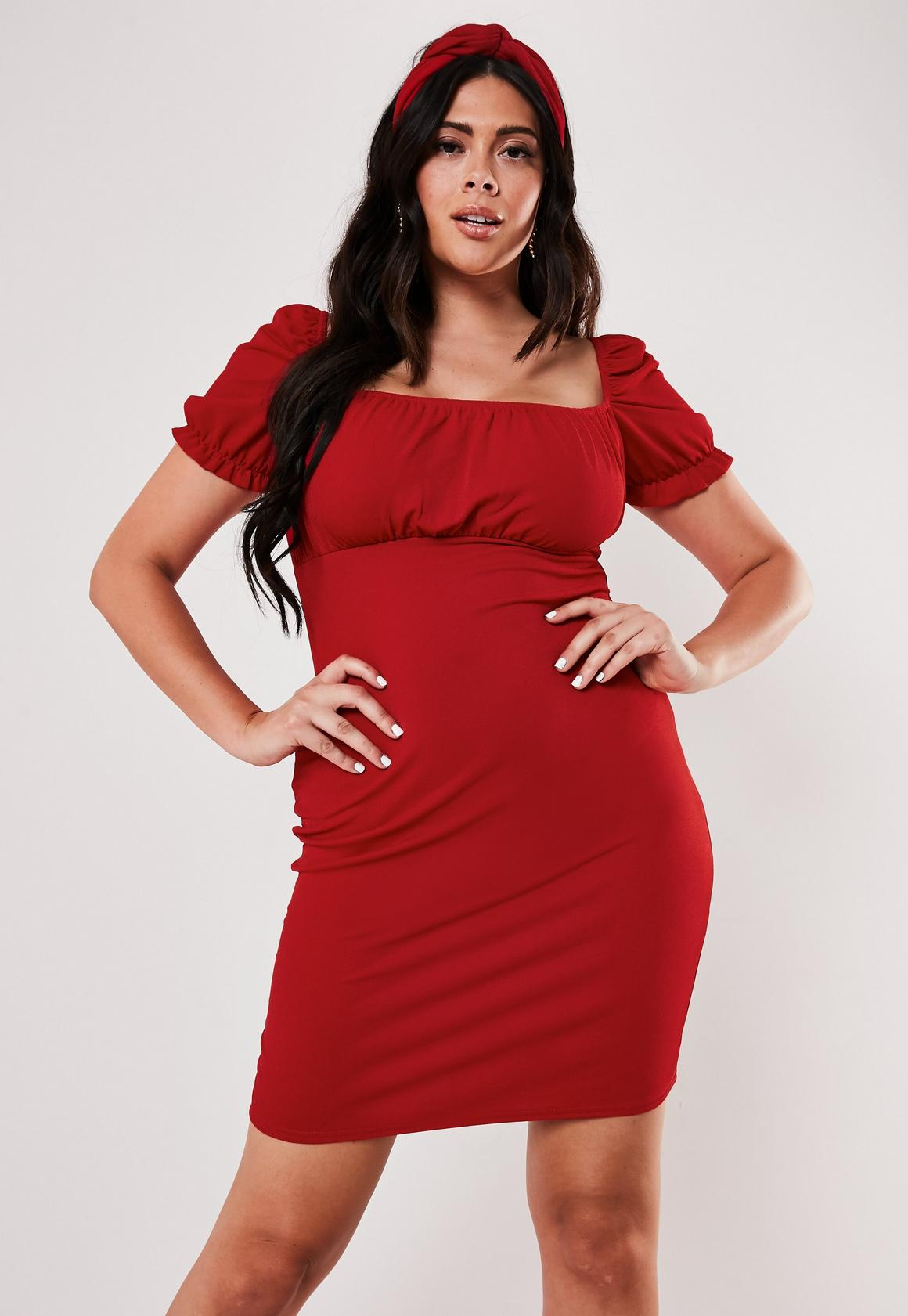 Plus Size Red Milkmaid Bodycon Mini Dress
