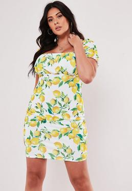 cdf2d9747c0 ... Plus Size Yellow Lemon Print Milkmaid Bodycon Mini Dress