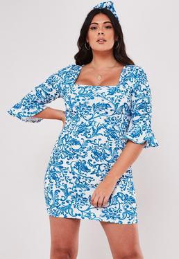 d71bfa2e106 ... Plus Size Blue Porcelain Print Frill Sleeve Mini Dress