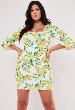 873c7b057a5 Plus Size Mustard Bardot Ruffle Bodycon Midi Dress · Plus Size Yellow Lemon  Print Frill Sleeve Mini Dress