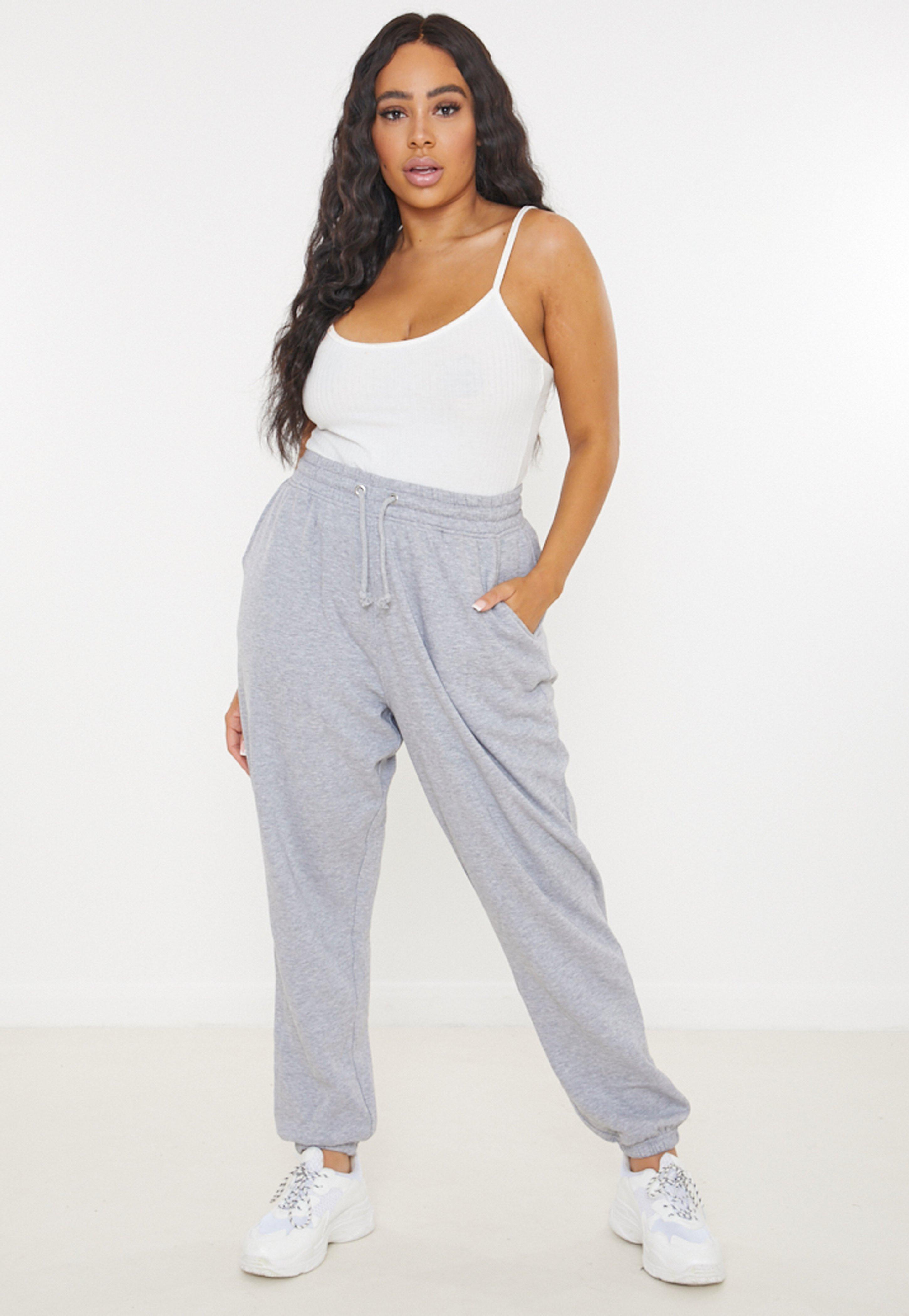 Plus Size Oversize Jogginghose mit Kordel und Taschen in Grau