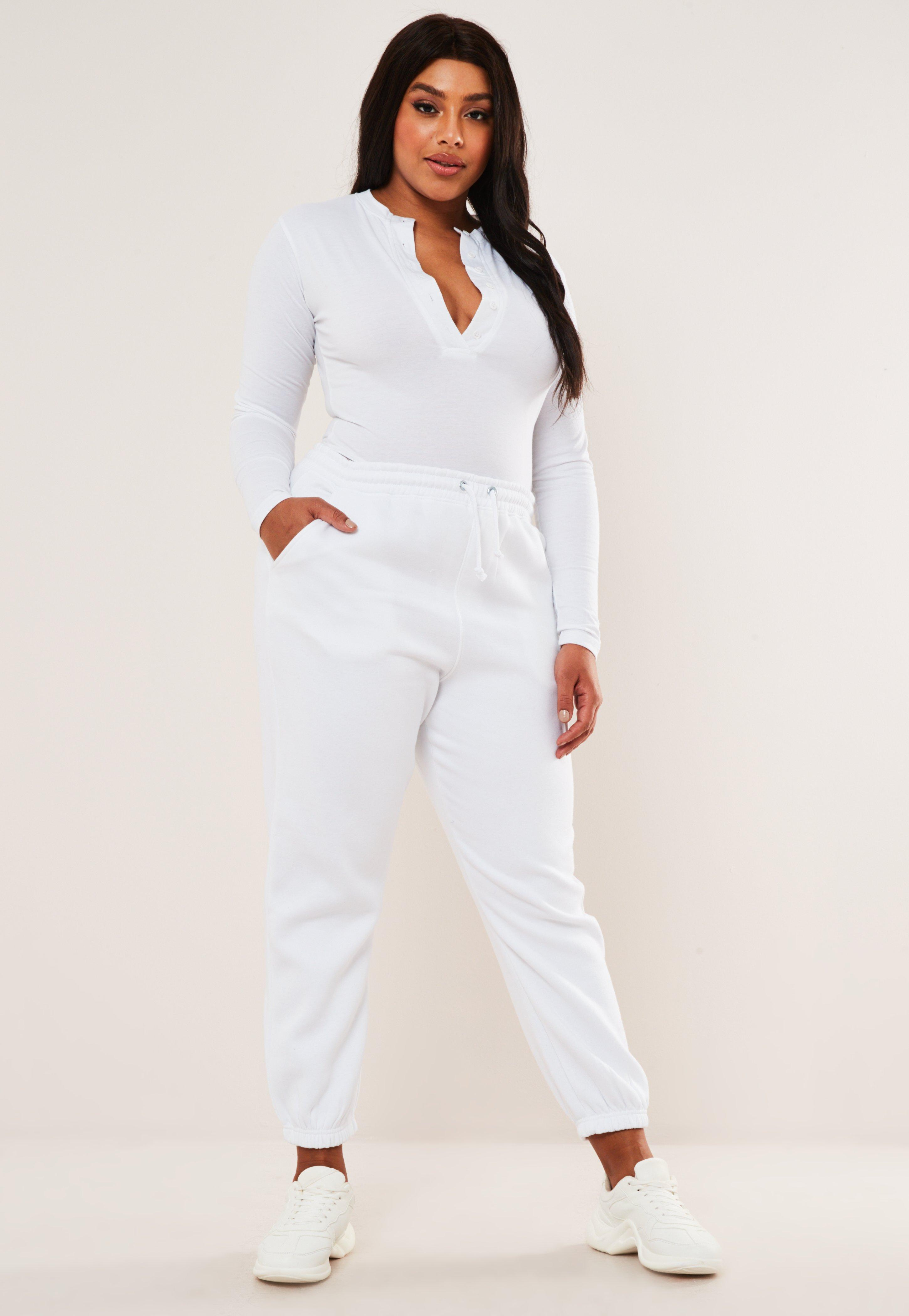 Plus Size White Oversized 90\'s Joggers