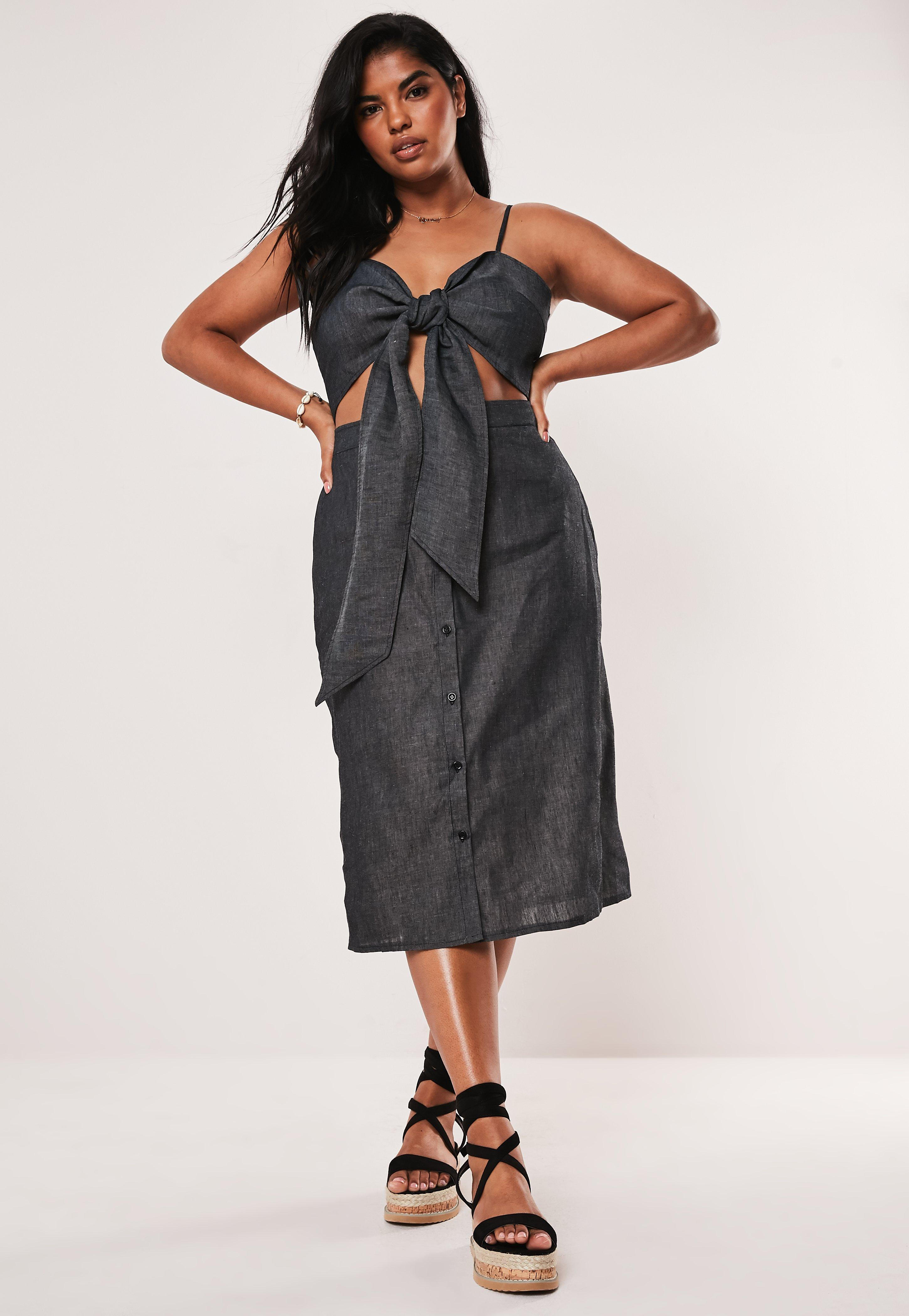 Plus Size Black Strappy Tie Front Midi Dress