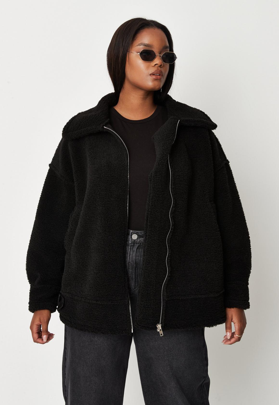 Plus Size Black Ultimate Aviator Coat