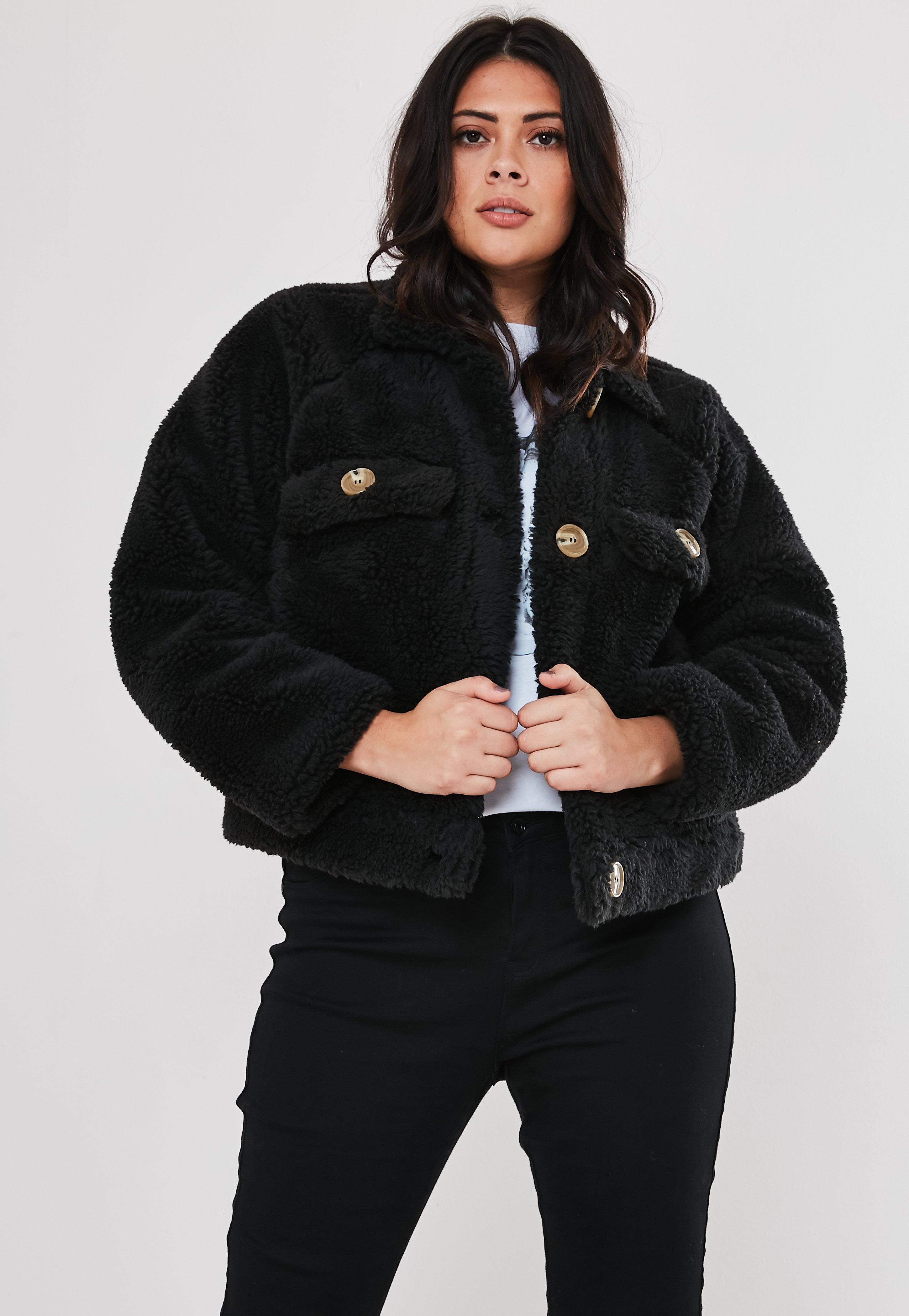 great fit authentic hot-selling discount Plus Size Black Cropped Utility Borg Jacket