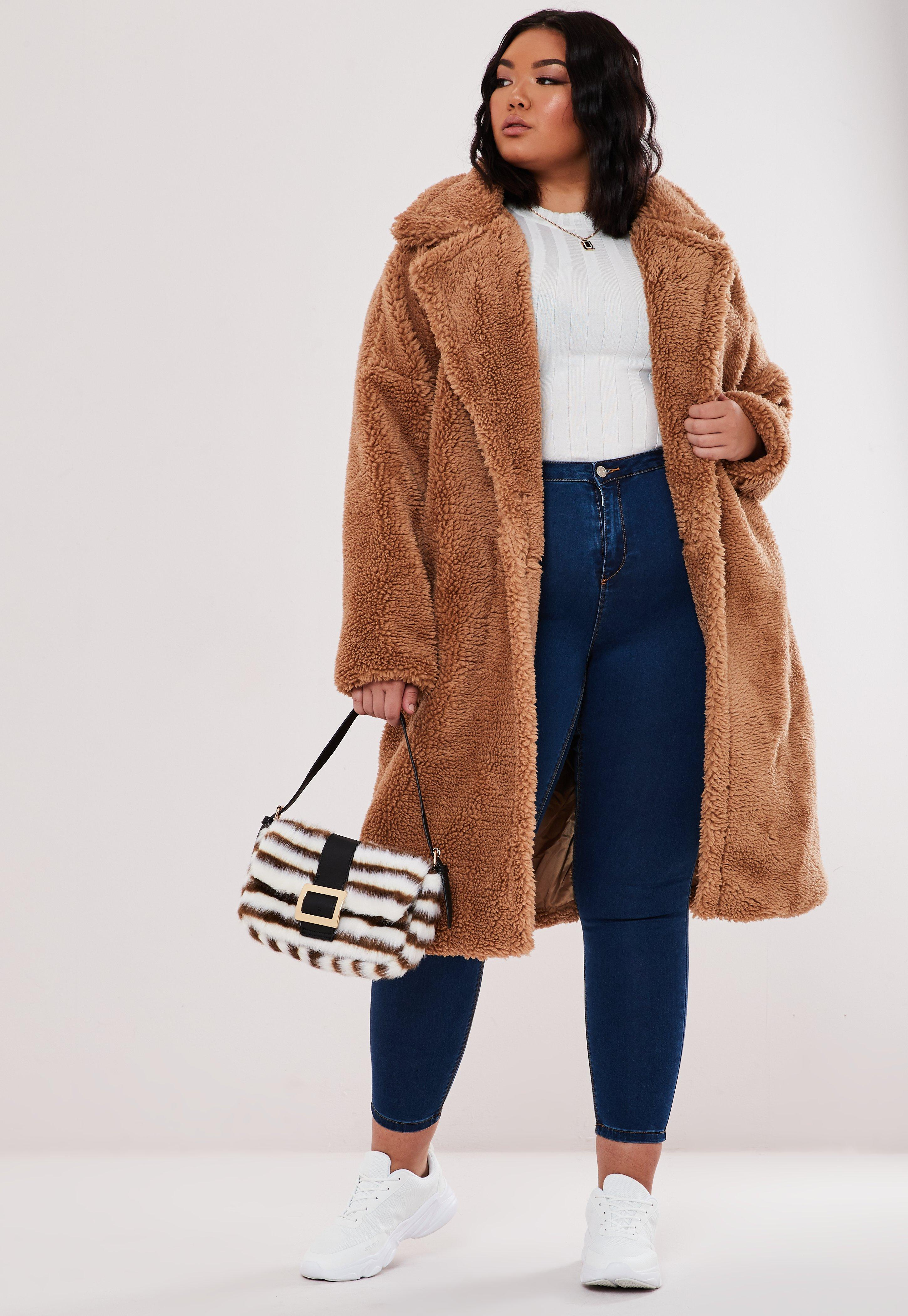 wholesale online authentic look out for Plus Size Tan Oversized Long Teddy Coat