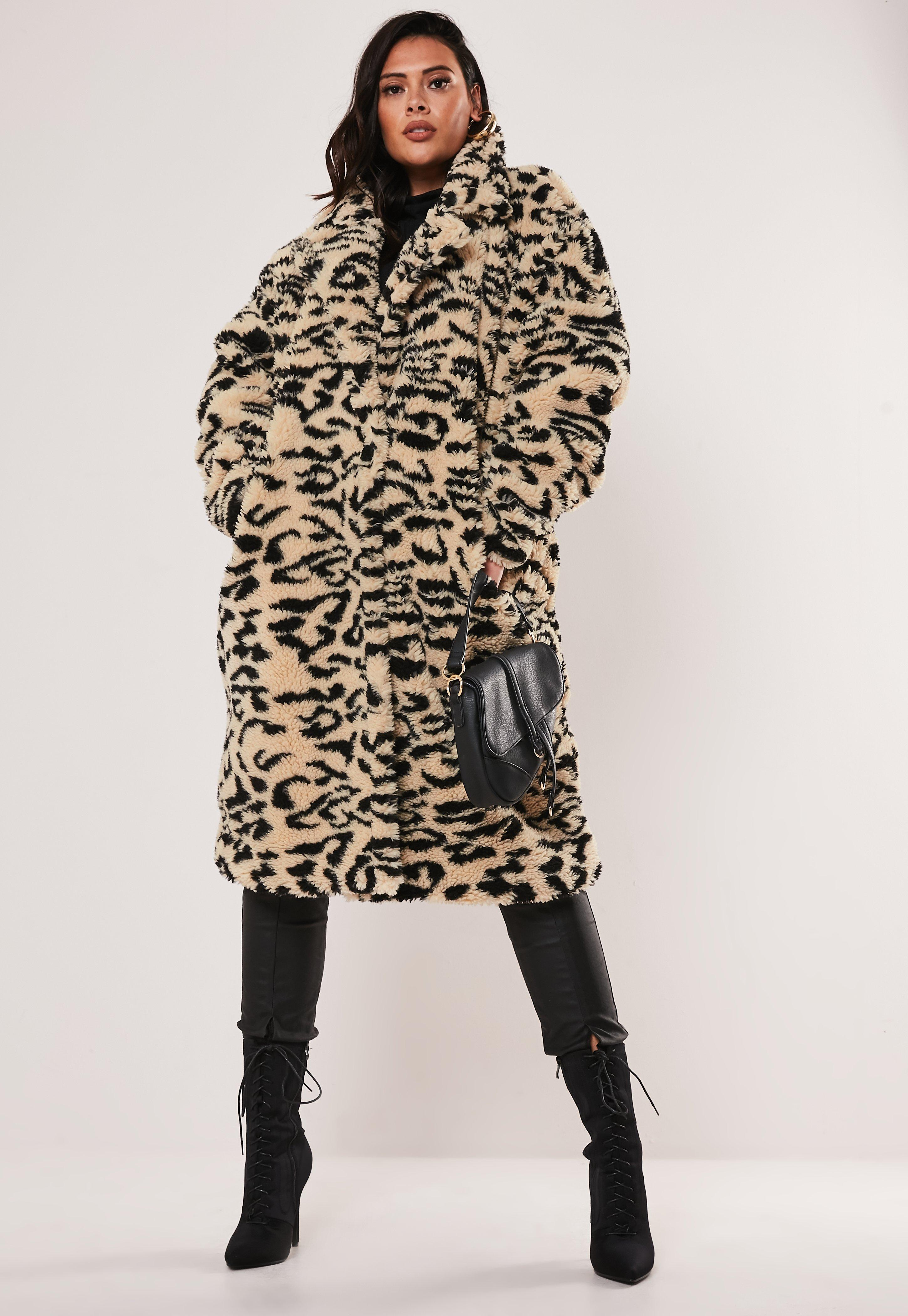 Plus Size Brown Leopard Print Oversized Teddy Coat