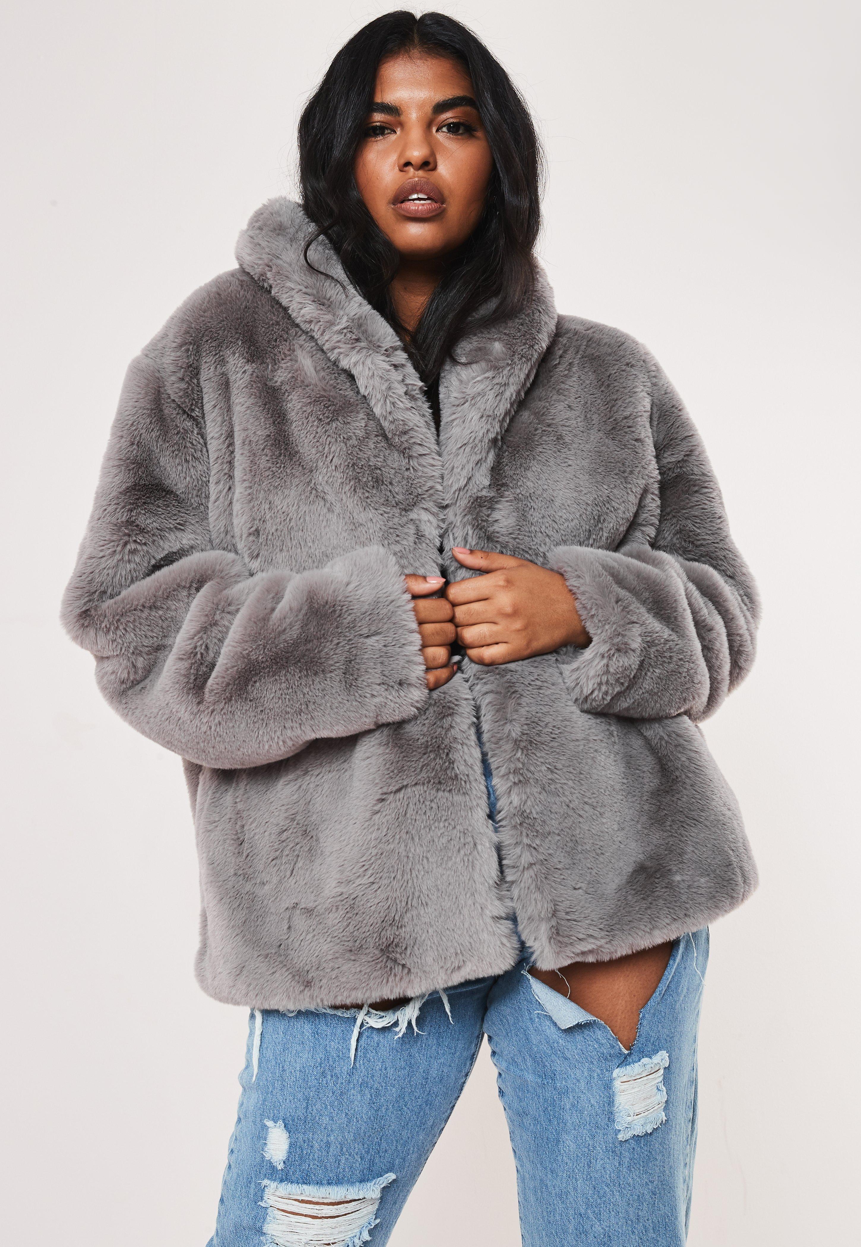 bas prix 39d3b b0bf2 Manteau gris en fourrure synthétique à col chà¢le Grande Taille