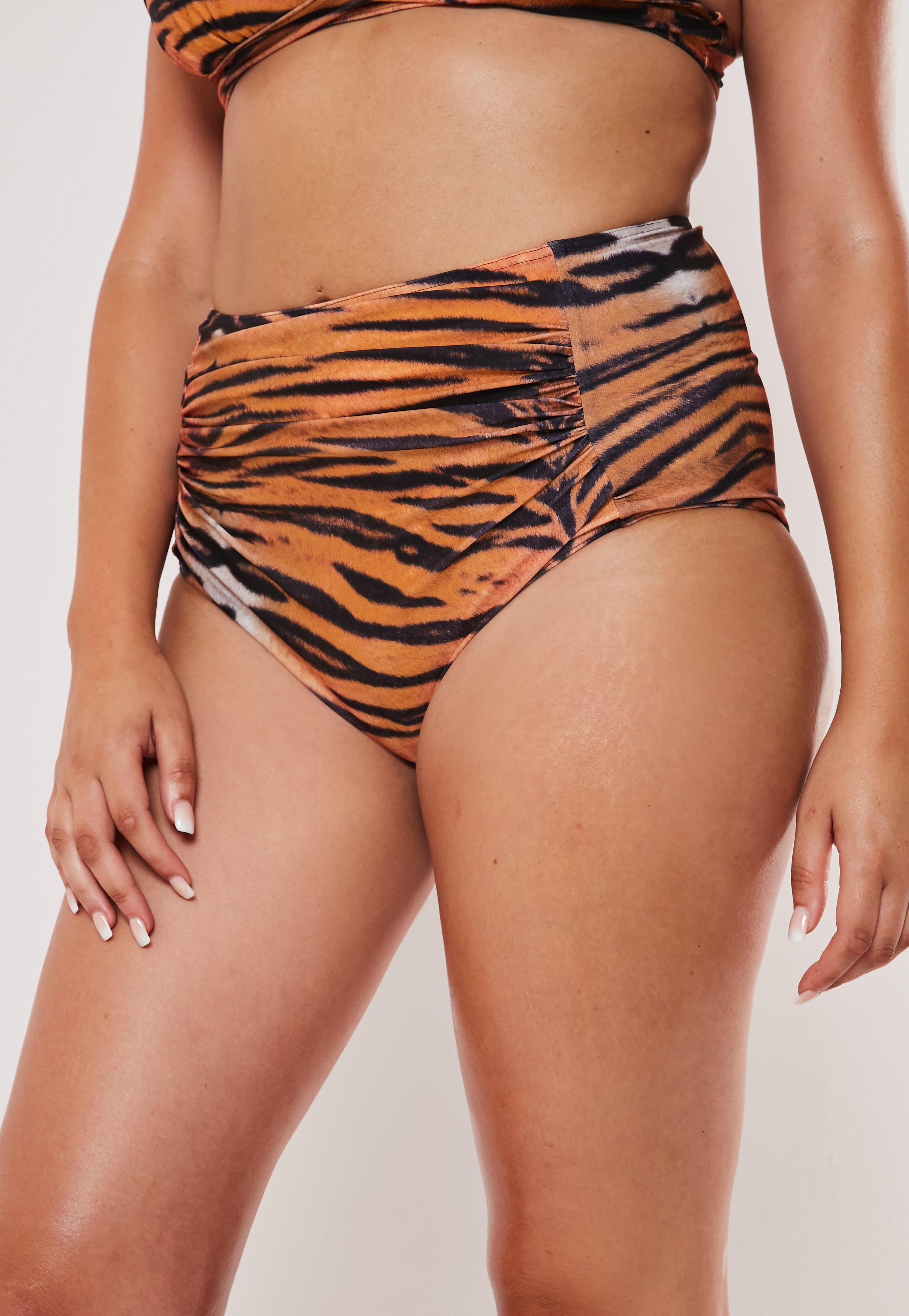 d7e38744855 Plus Size Brown Tiger Print Ruched High Waisted Bikini Bottoms