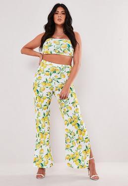 2d7ea7d2f ... Plus Size Yellow Lemon Print Bandeau Crop Top Wide Leg Trouser Co Ord  Set