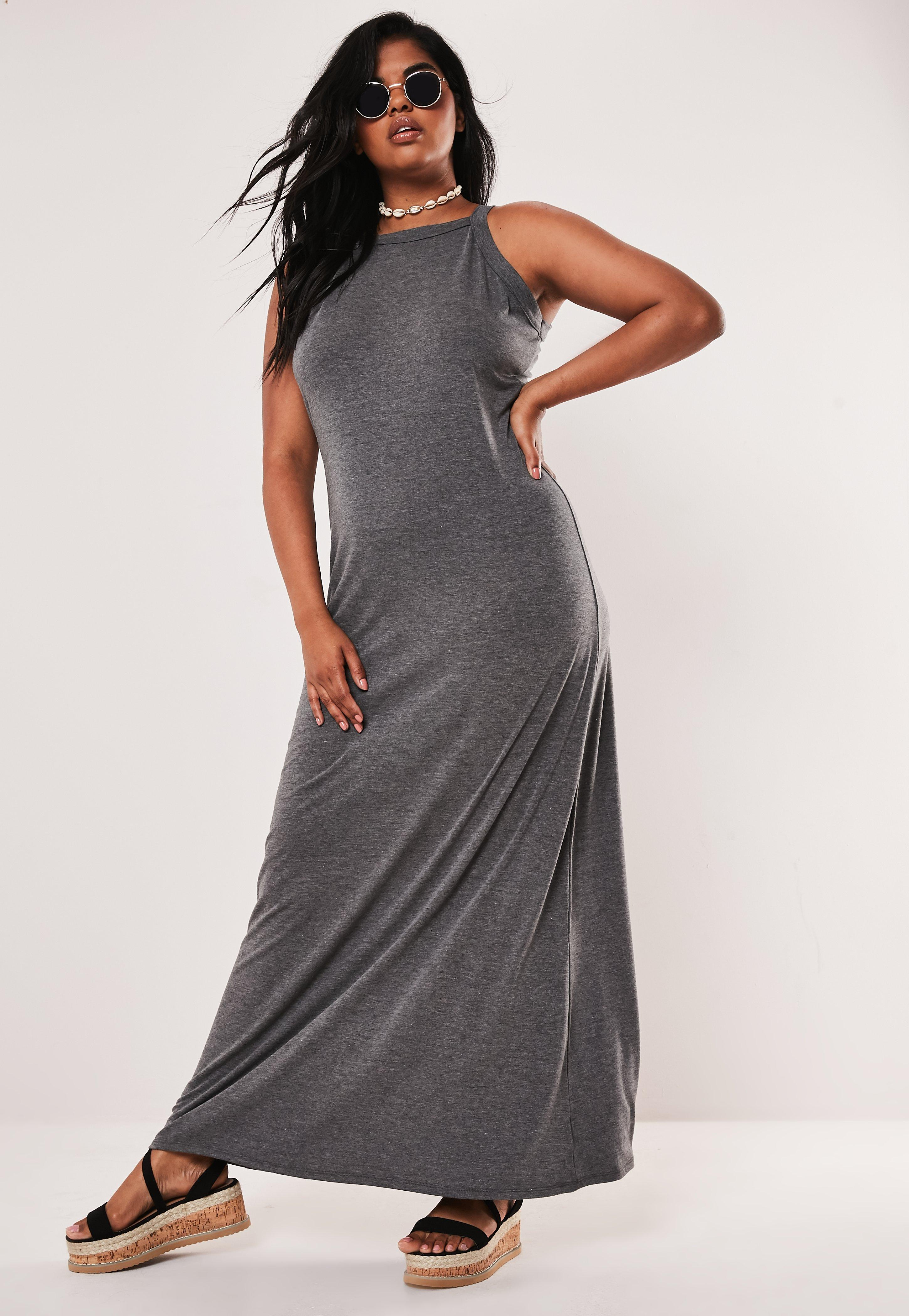 Plus Size Gray Strappy Jersey Maxi Dress | Missguided