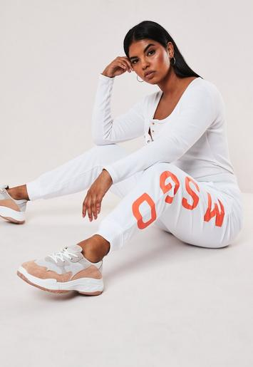 Plus Size White Missguided Neon Slogan Joggers by Missguided