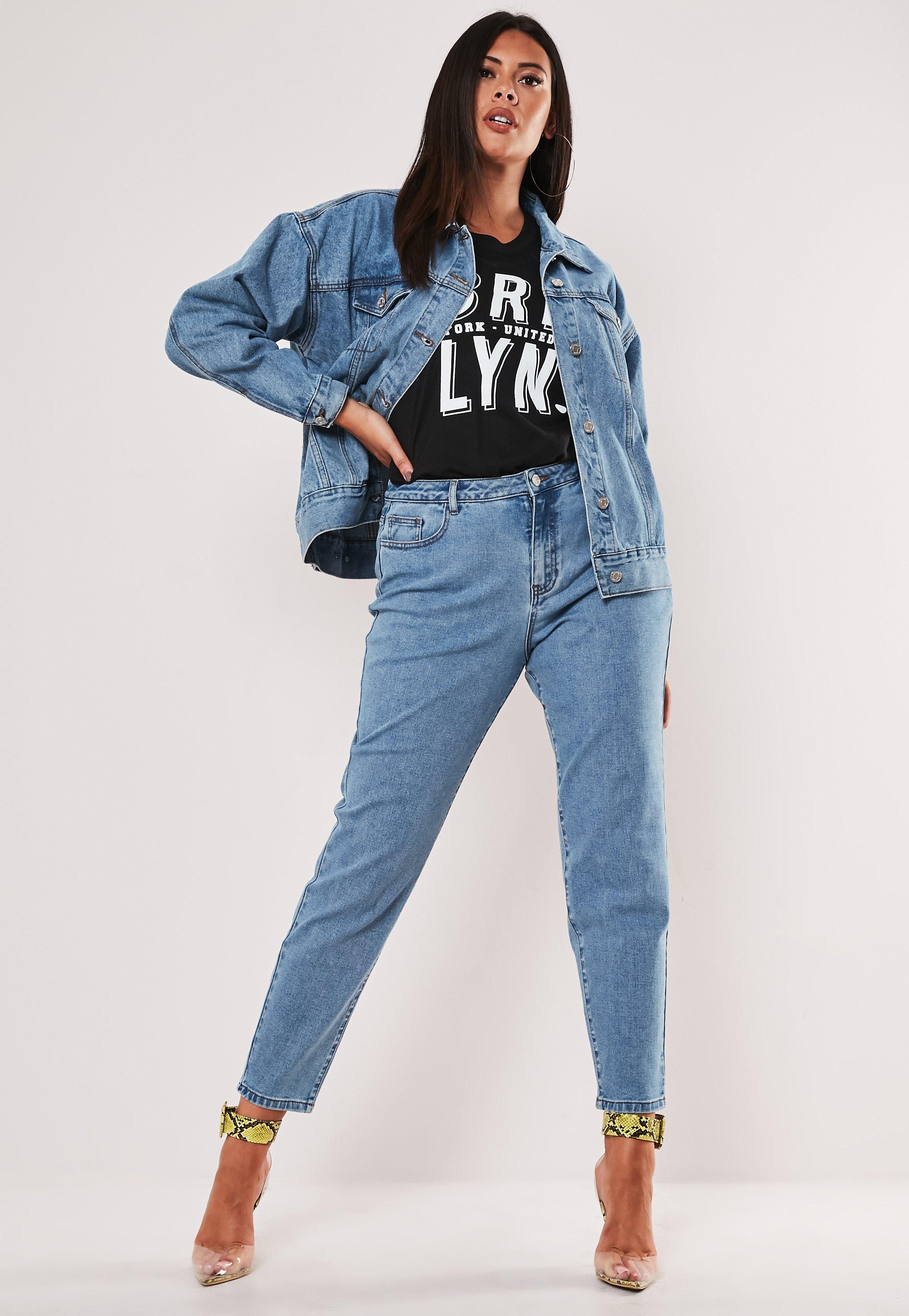 les dernières nouveautés nuances de mode Jeans Mom bleu taille haute Grandes tailles
