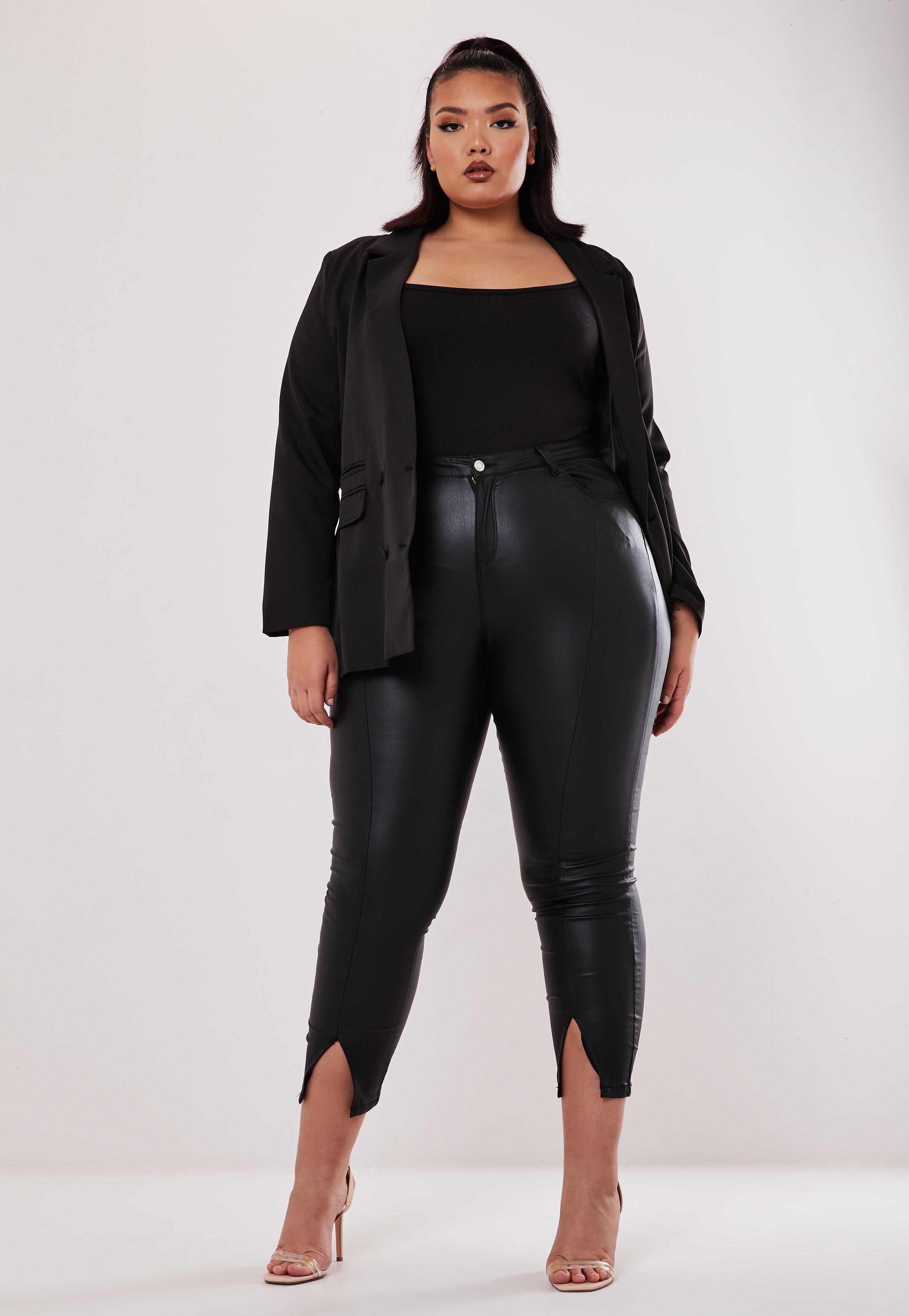 cheapest exclusive shoes sold worldwide Pantalon noir style cuir taille haute Grandes tailles