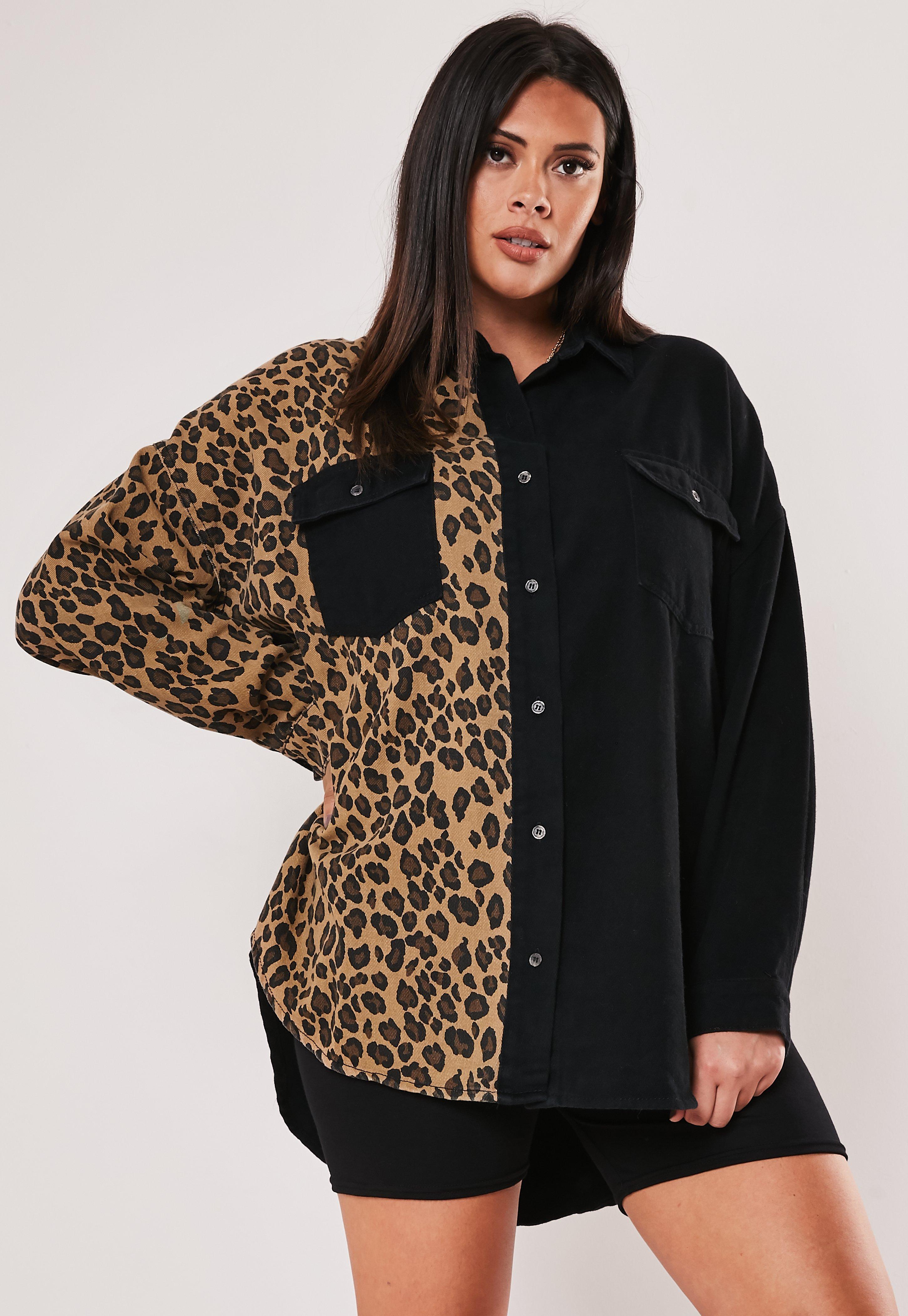 Noir Grandes Chemise Tailles Jeans Et Léopard En dCBorWEQxe