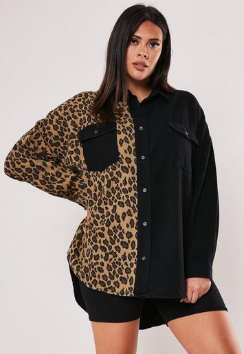 Plus Size Black Leopard Print Denim Shirt by Missguided