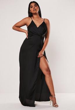Платье макси большого размера с атласным поворотом Cami