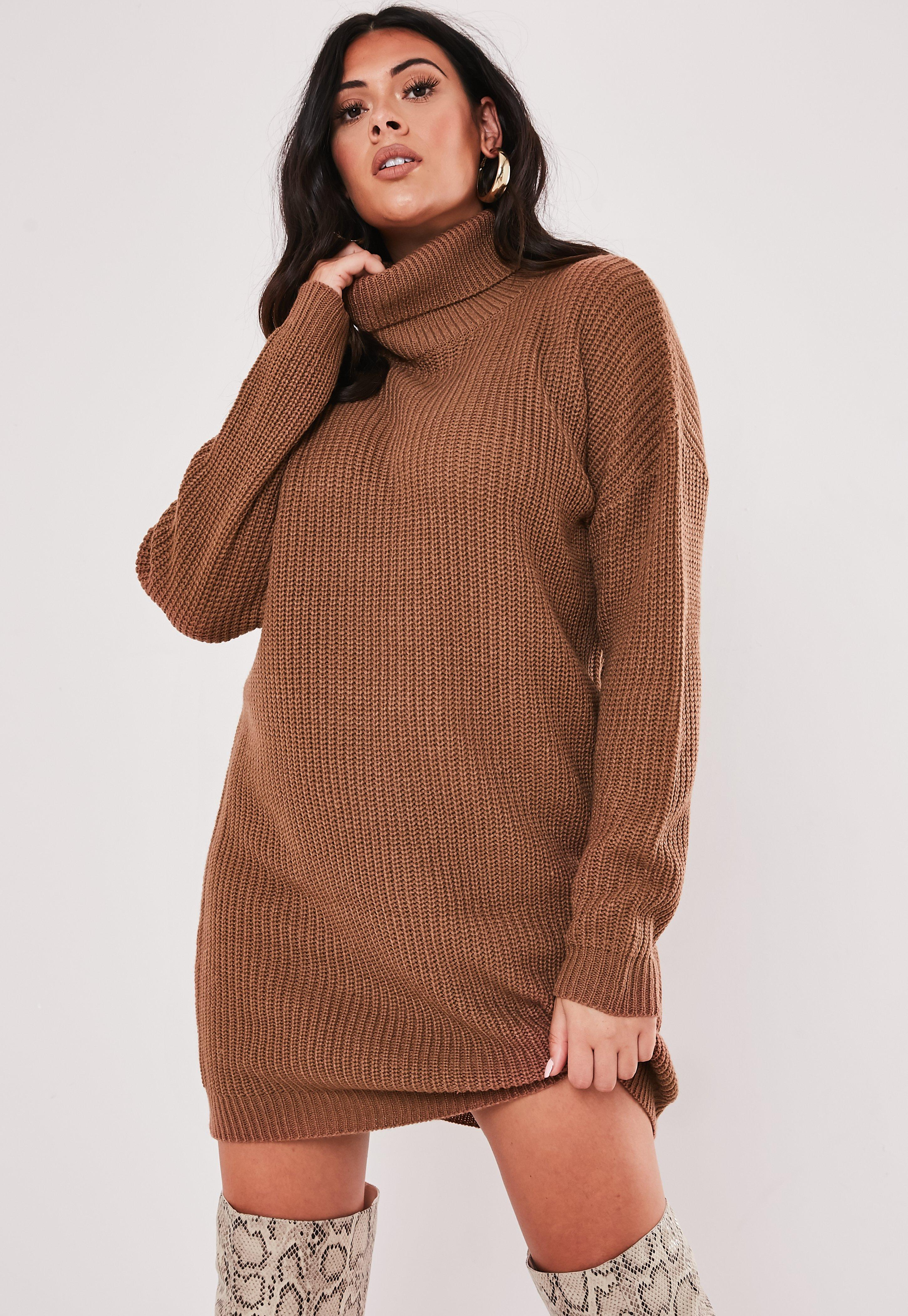 Plus Size Mocha Roll Neck Jumper Dress