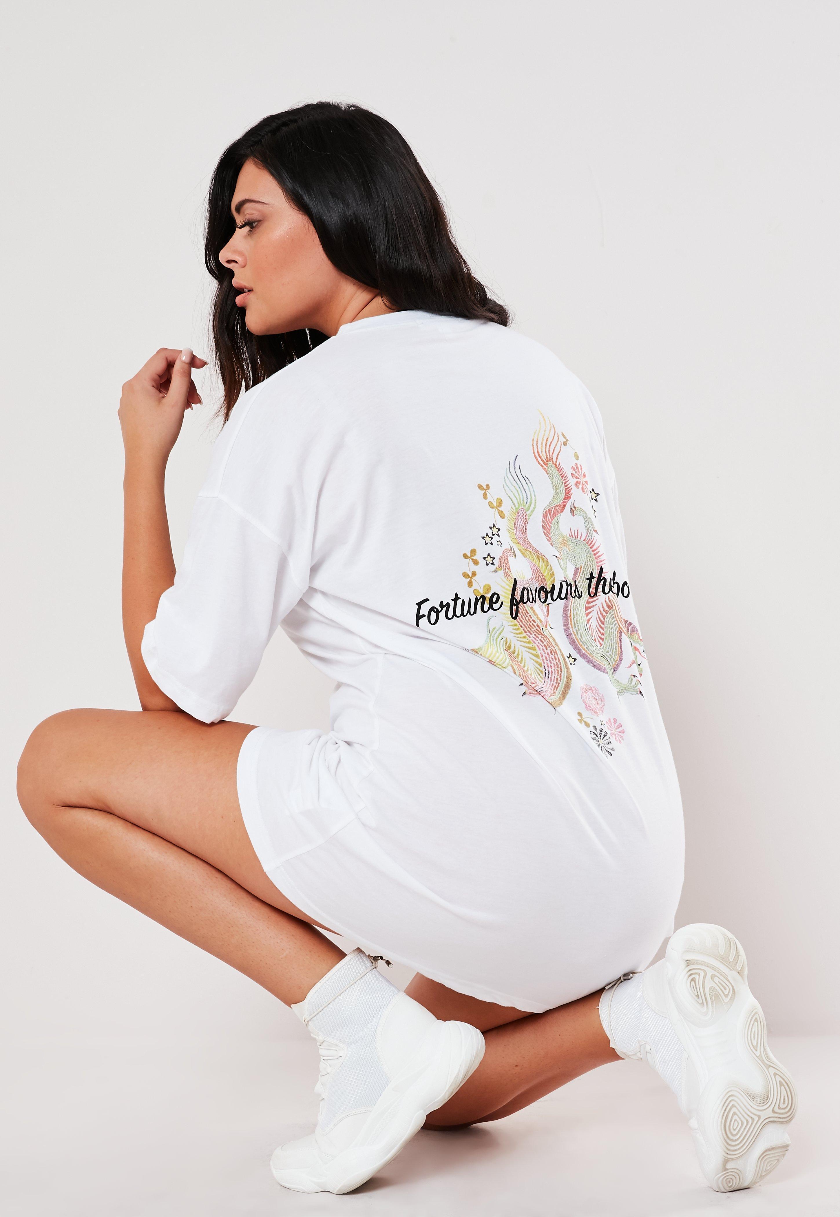 Plus Size White Oversized Dragon Print T Shirt Dress