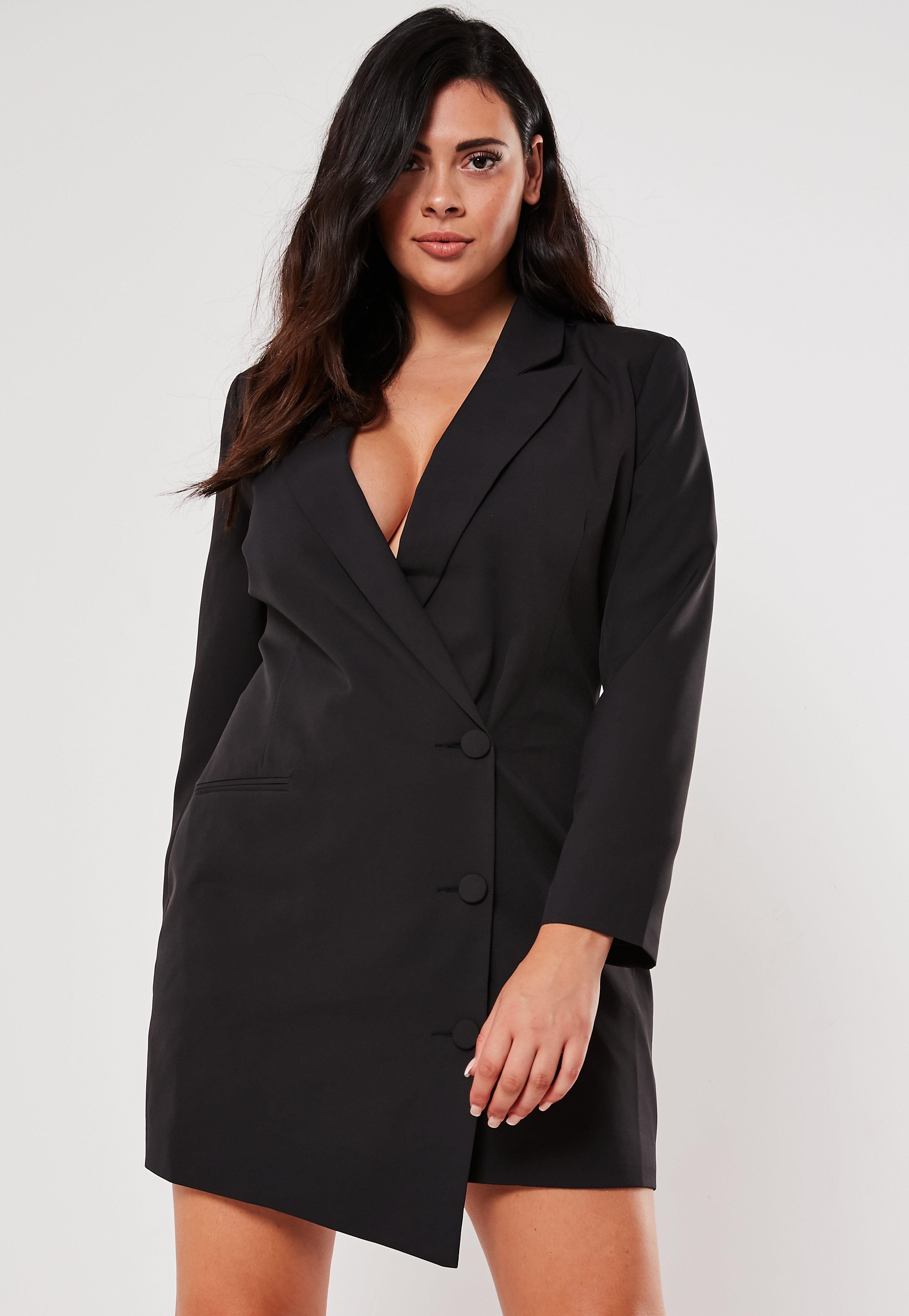 Plus Size Black Button Front Blazer Dress