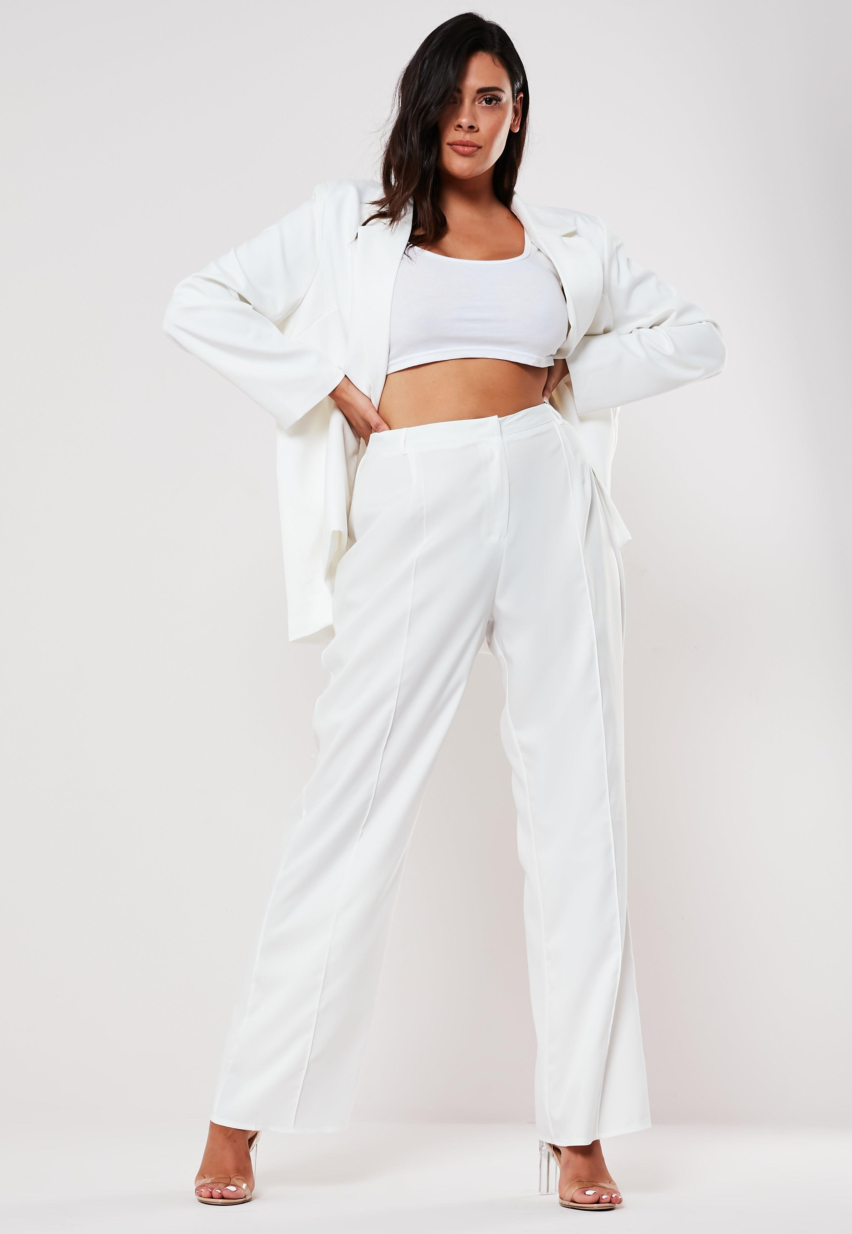 Plus Size White Seam Detail High Waisted Pants