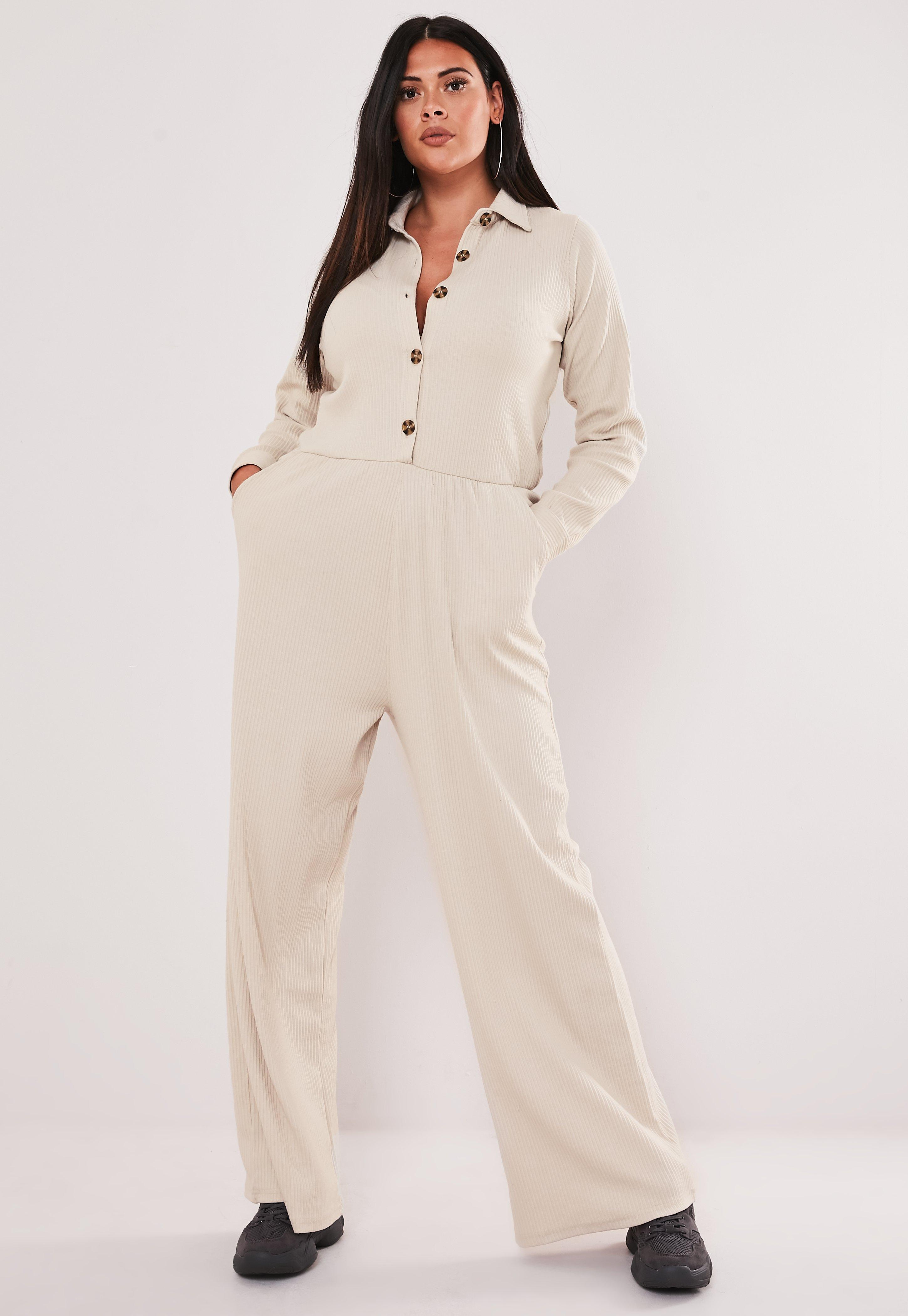 convenience goods lovely luster special buy Plus Size Nude Rib Utility Jumpsuit