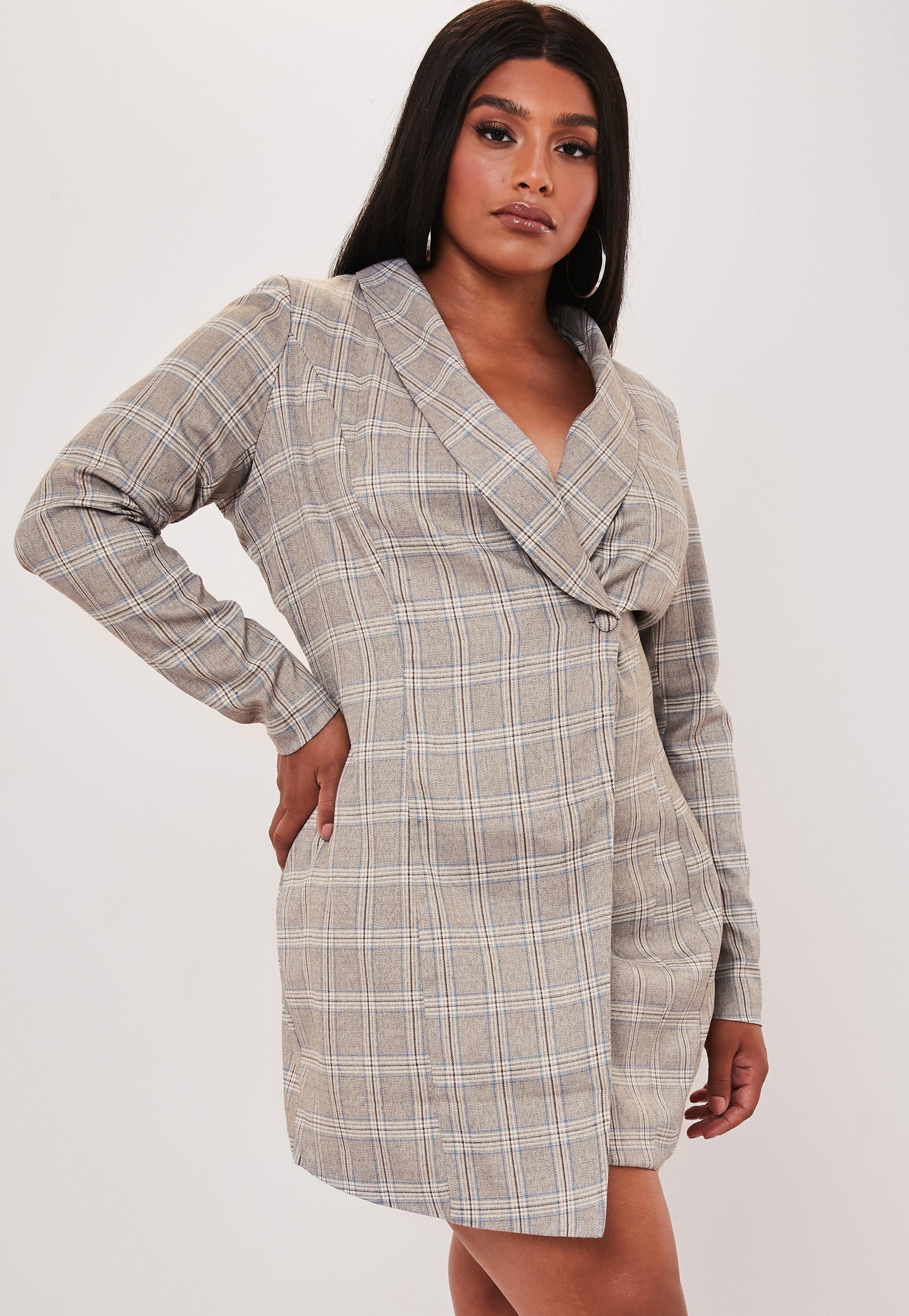 Plus Size Brown Heritage Plaid Blazer Dress