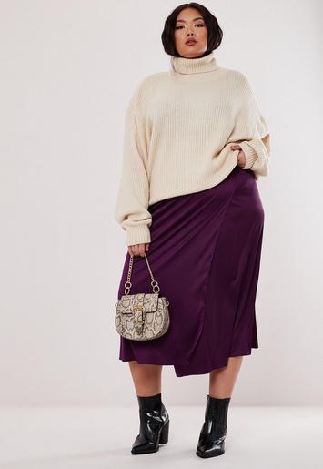 Plus Size Purple Satin Tie Side Slip Skirt by Missguided