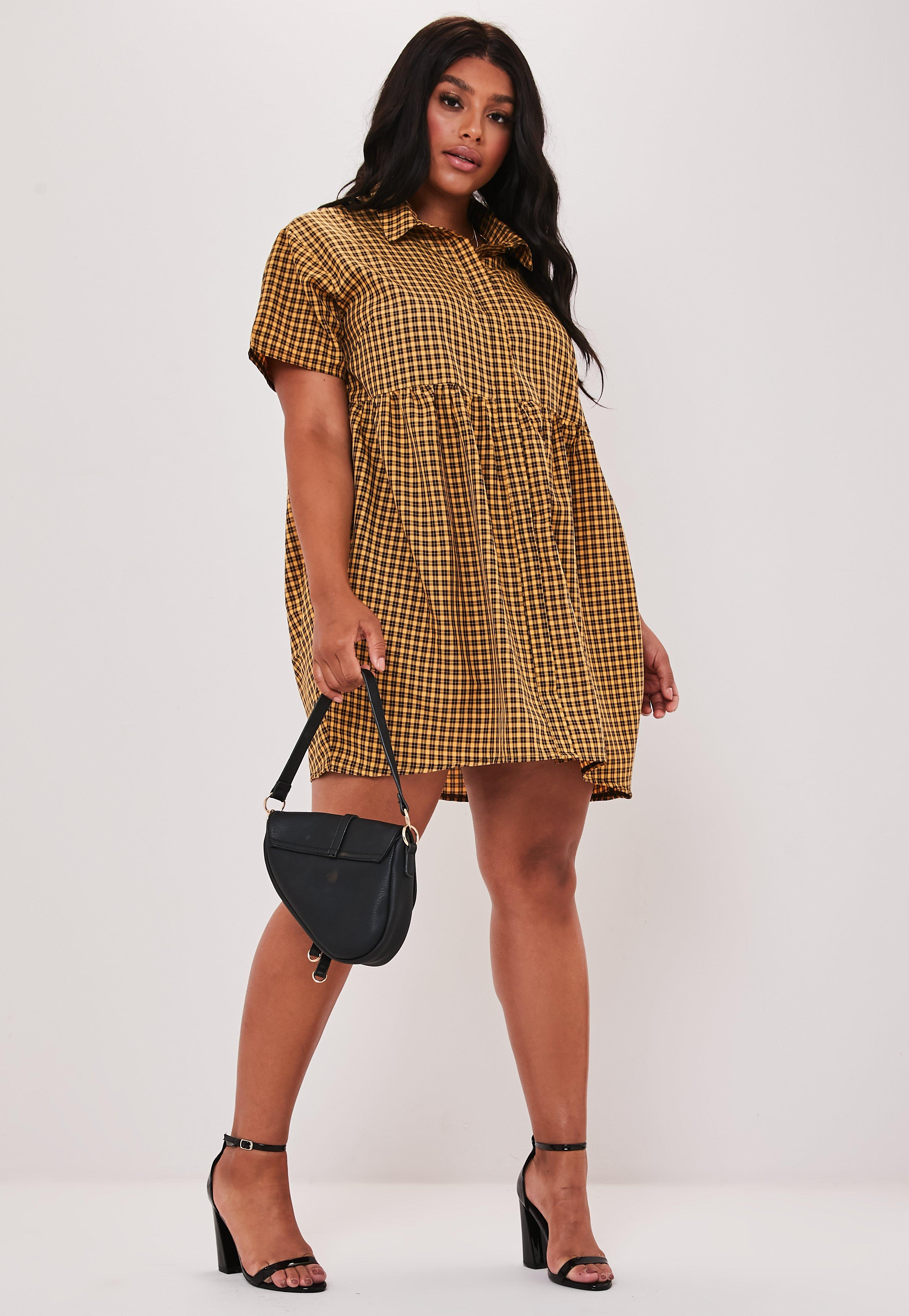 Plus Size Yellow Plaid Button Smock Dress