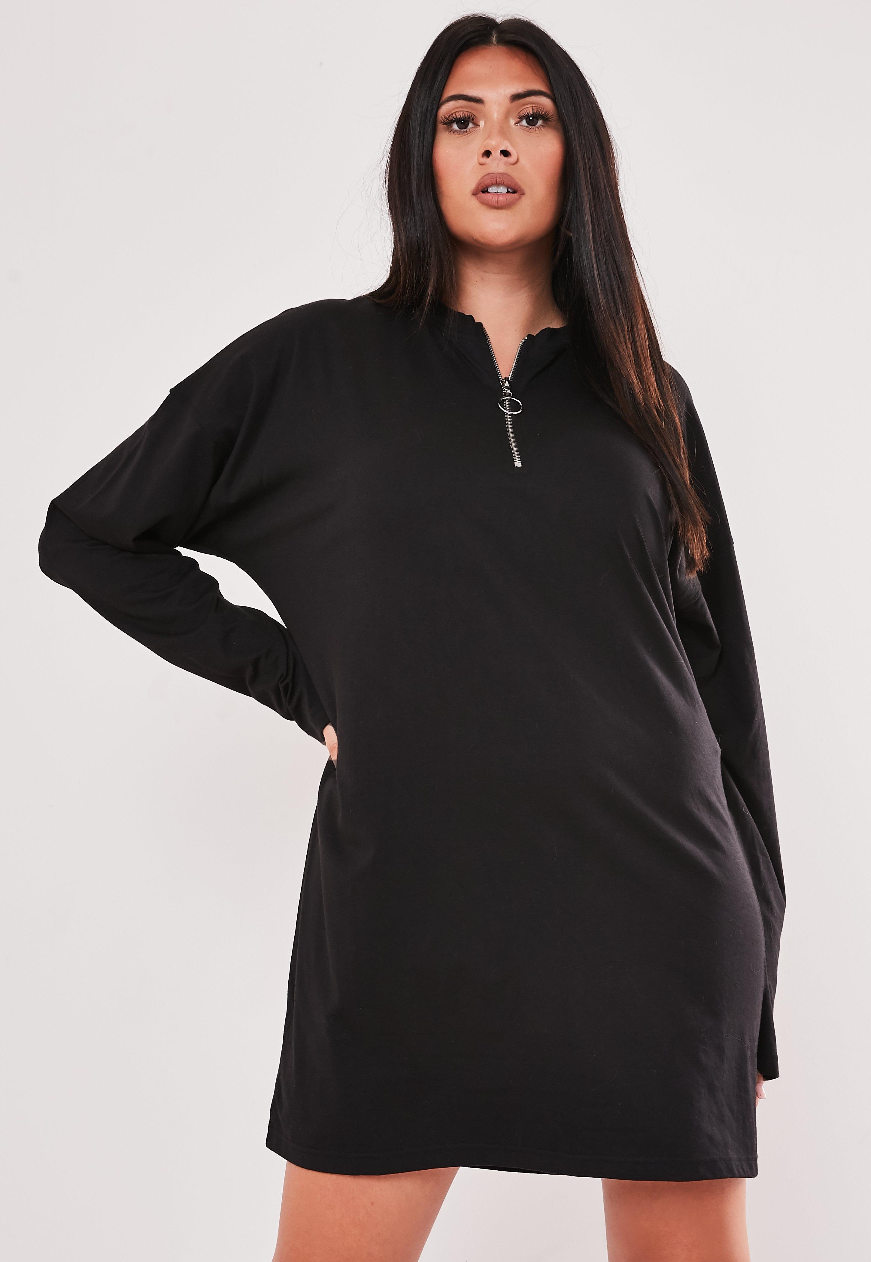 Plus Size Black Zip T Shirt Dress