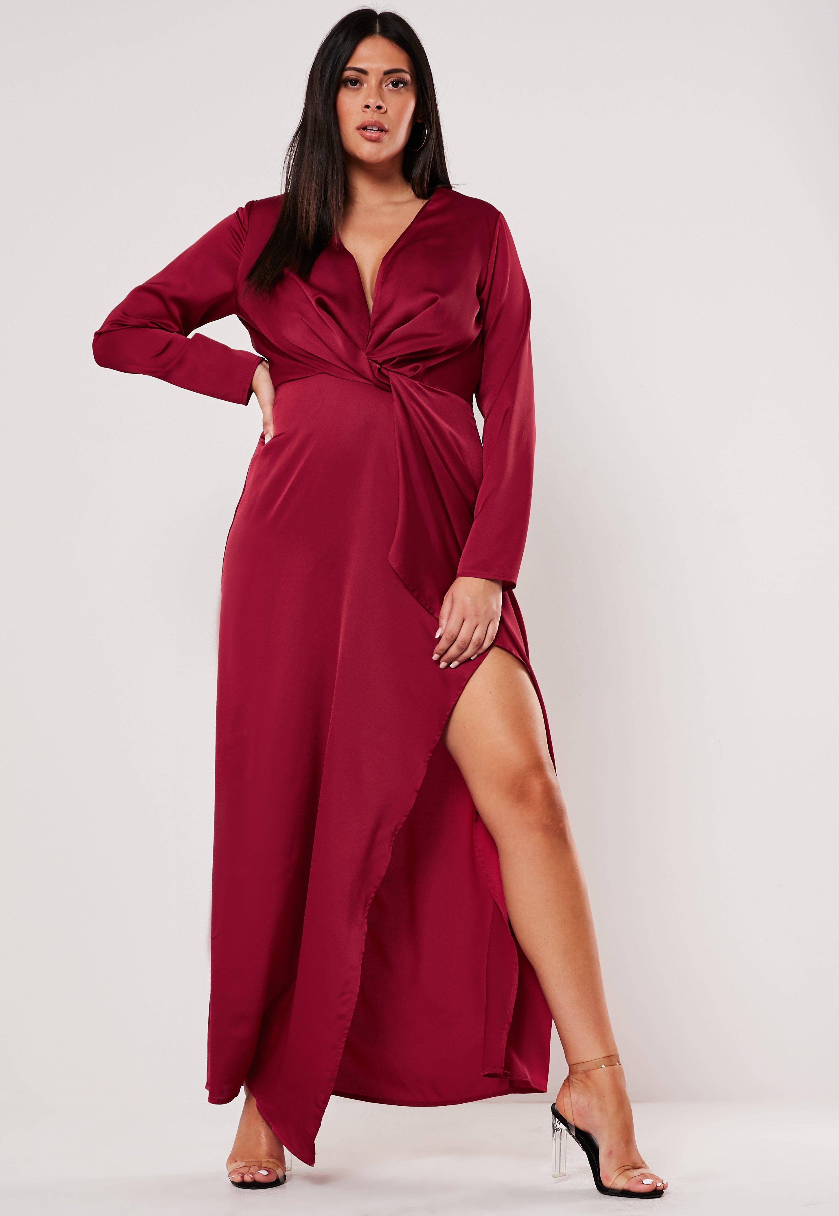 Plus Size Burgundy Satin Wrap Maxi Dress