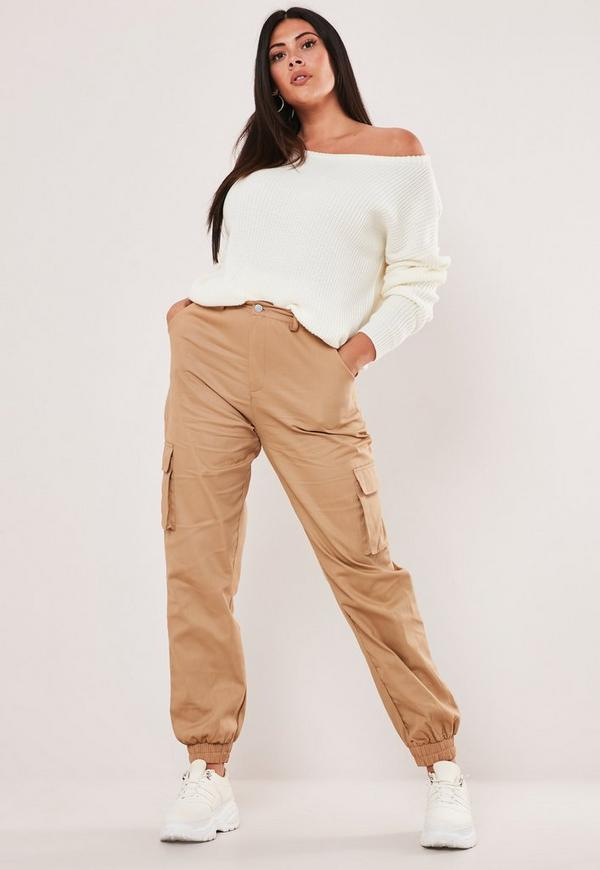Plus Size Tan Cargo Trousers by Missguided