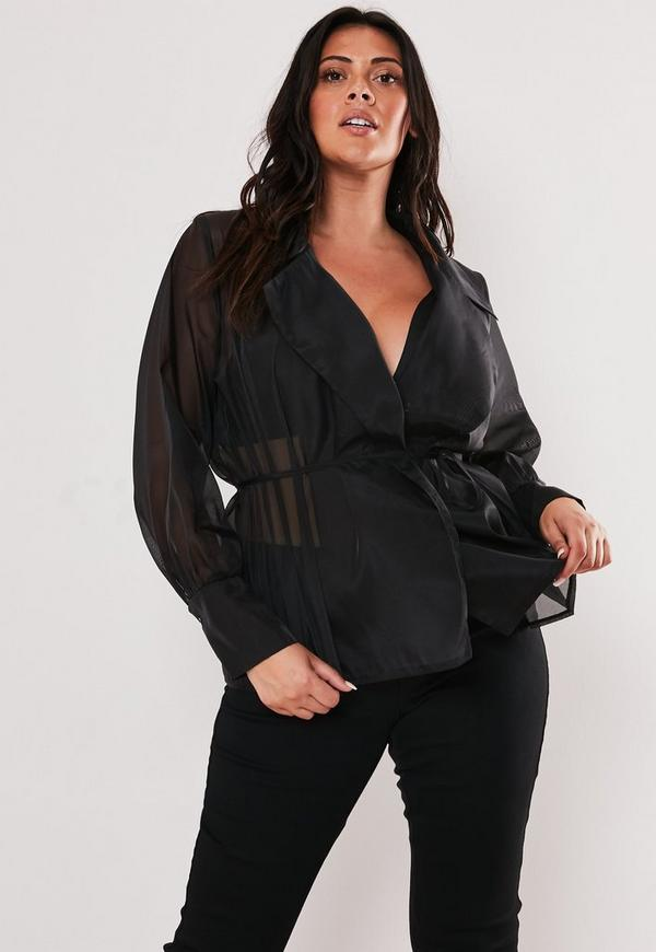 Plus Size Black Sheer Organza Belted Wrap Blouse by Missguided