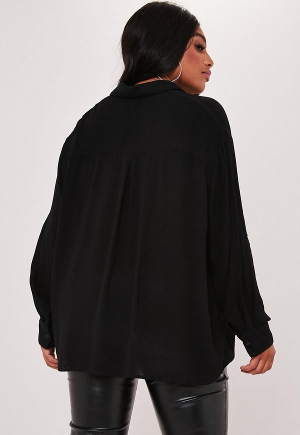 Plus Size Black Safari Shirt by Missguided