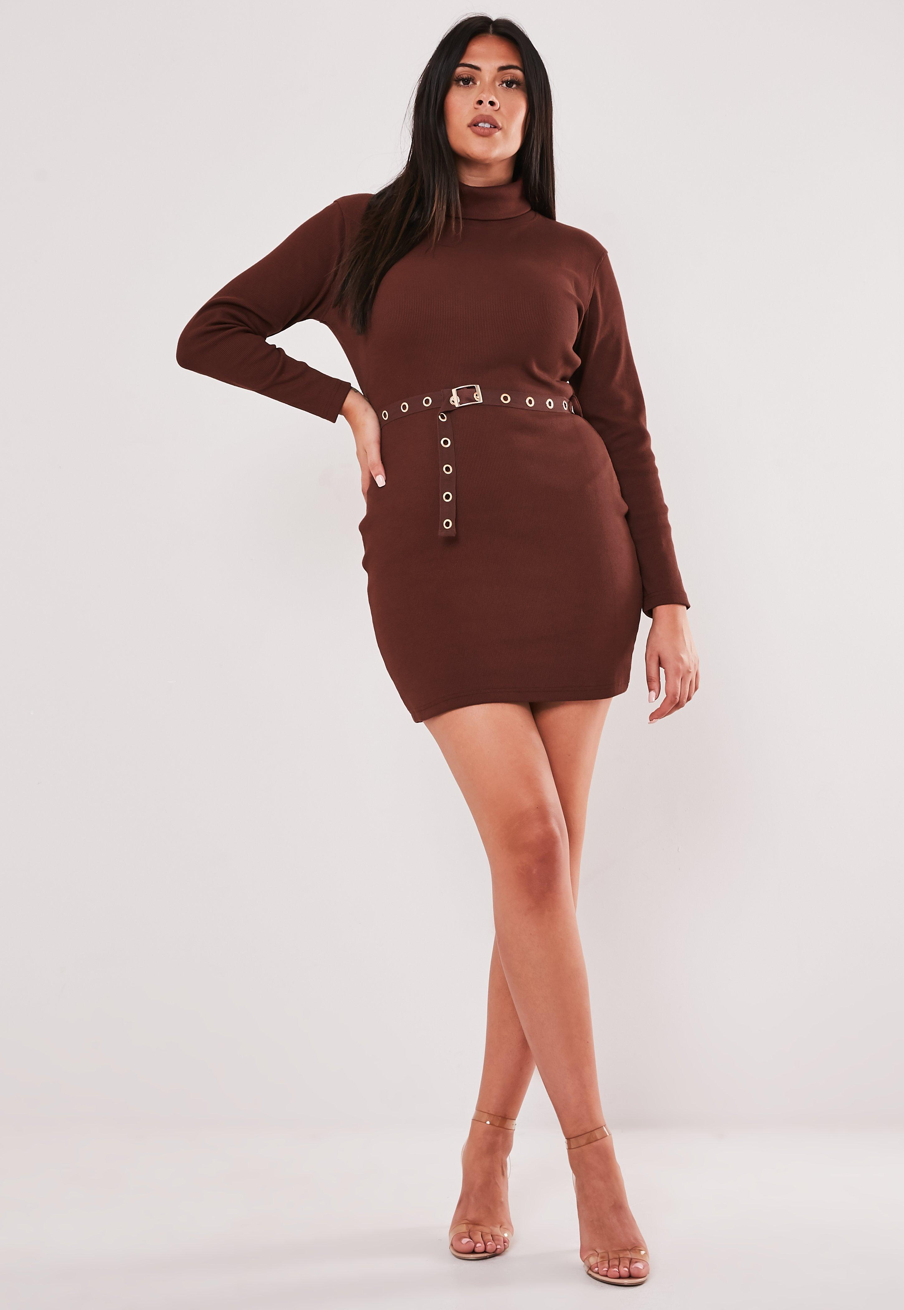 Plus Size Brown Roll Neck Belted Mini Dress